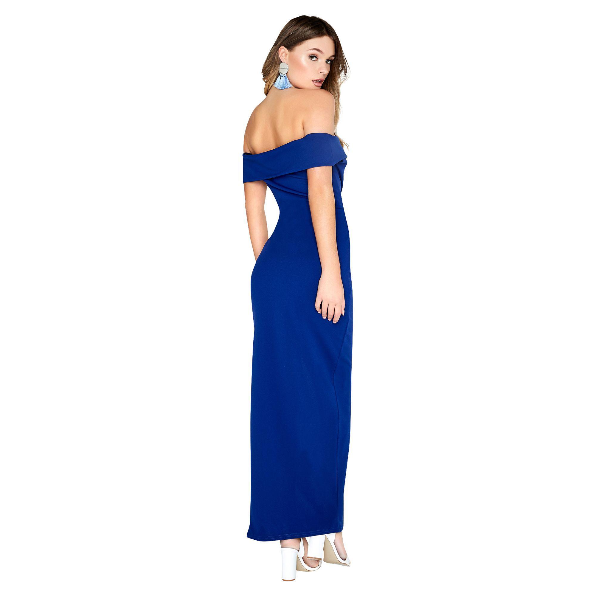 fc611aea0c09 Girls On Film Pose Foldover Bardot Maxi Dress in Blue - Lyst