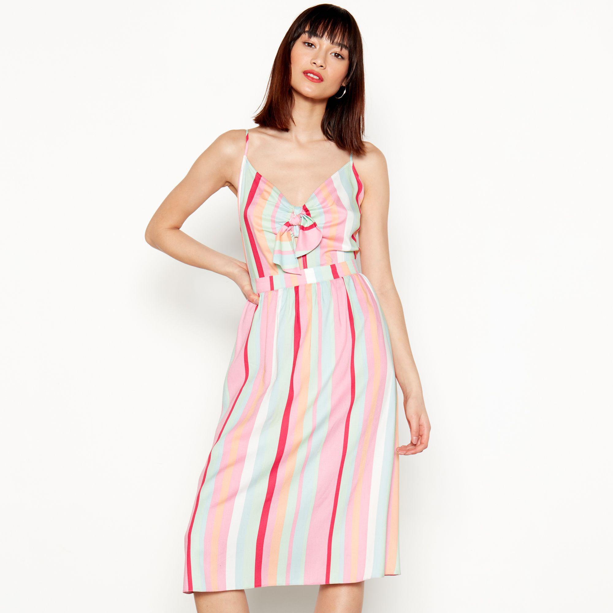 9e96a6900d9 Red Herring Multi-coloured Striped V-neck Knee Length Dress in Pink ...