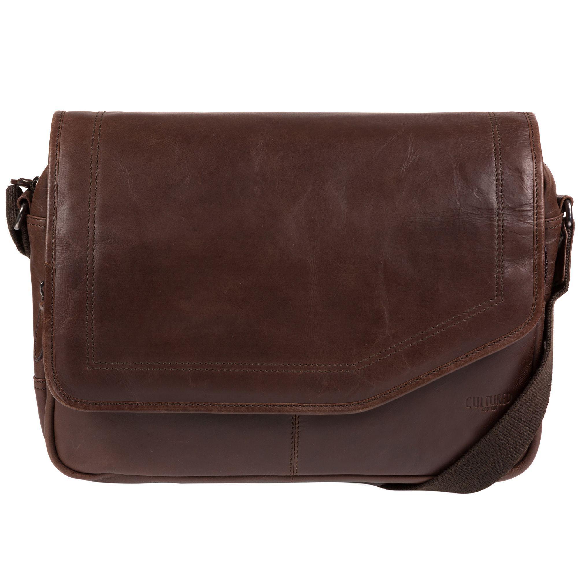 Cultured London Dark Brown  reaction  Natural Leather Messenger Bag ... 111e68836a20f