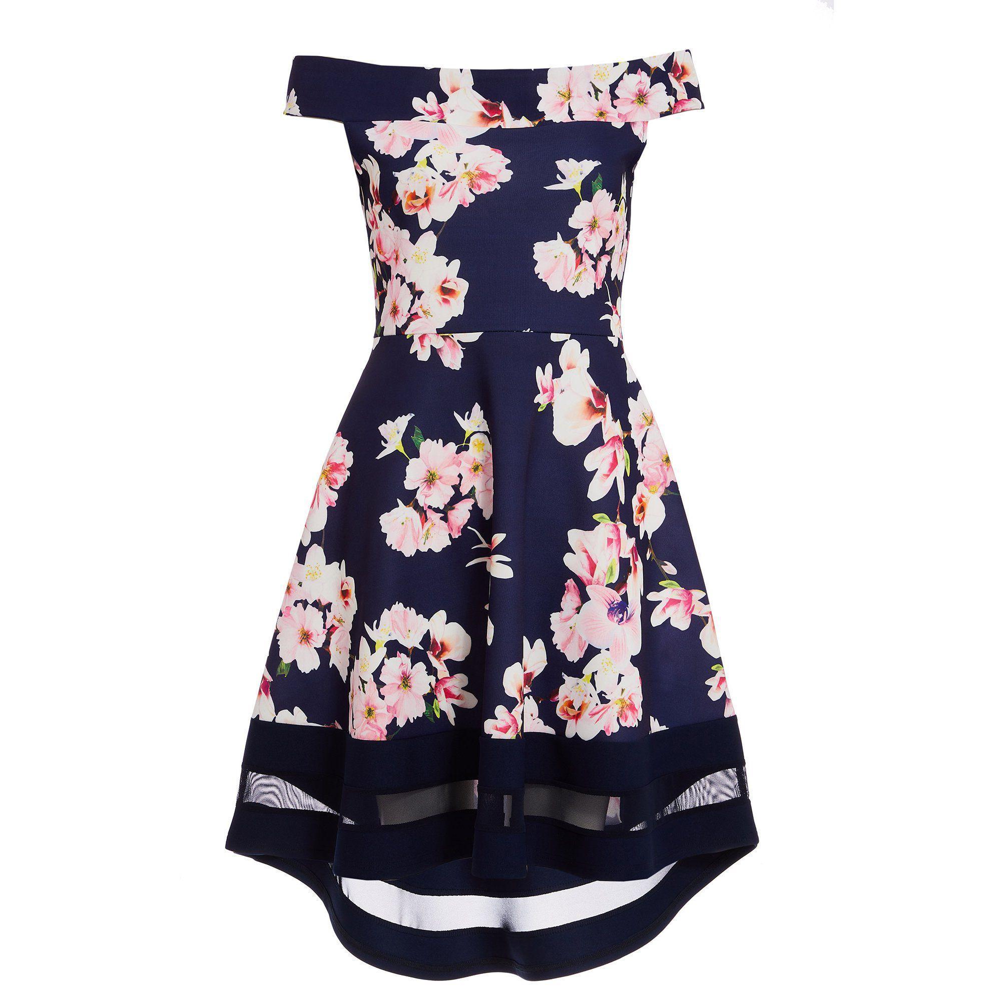 8b8ff7bf1c6c Quiz Navy Pink And Cream Floral Bardot Dip Hem Dress in Blue - Lyst
