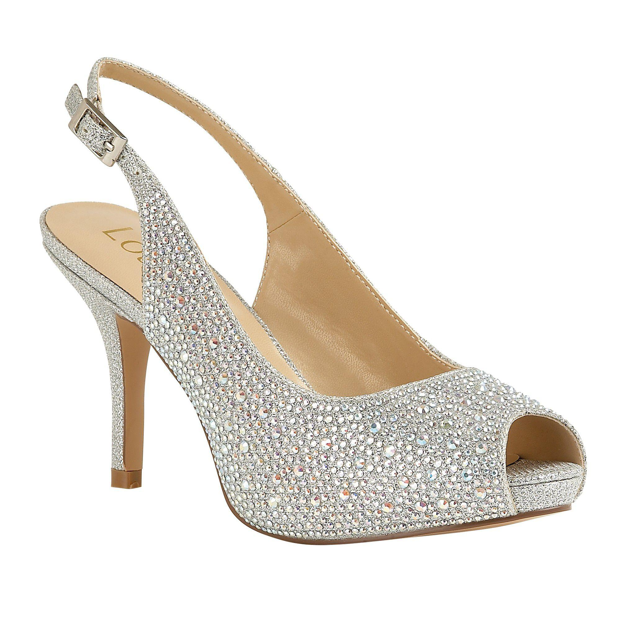 cd3ad60b2911 Lotus Silver Diamante  astro  High Stiletto Heel Slingbacks in ...