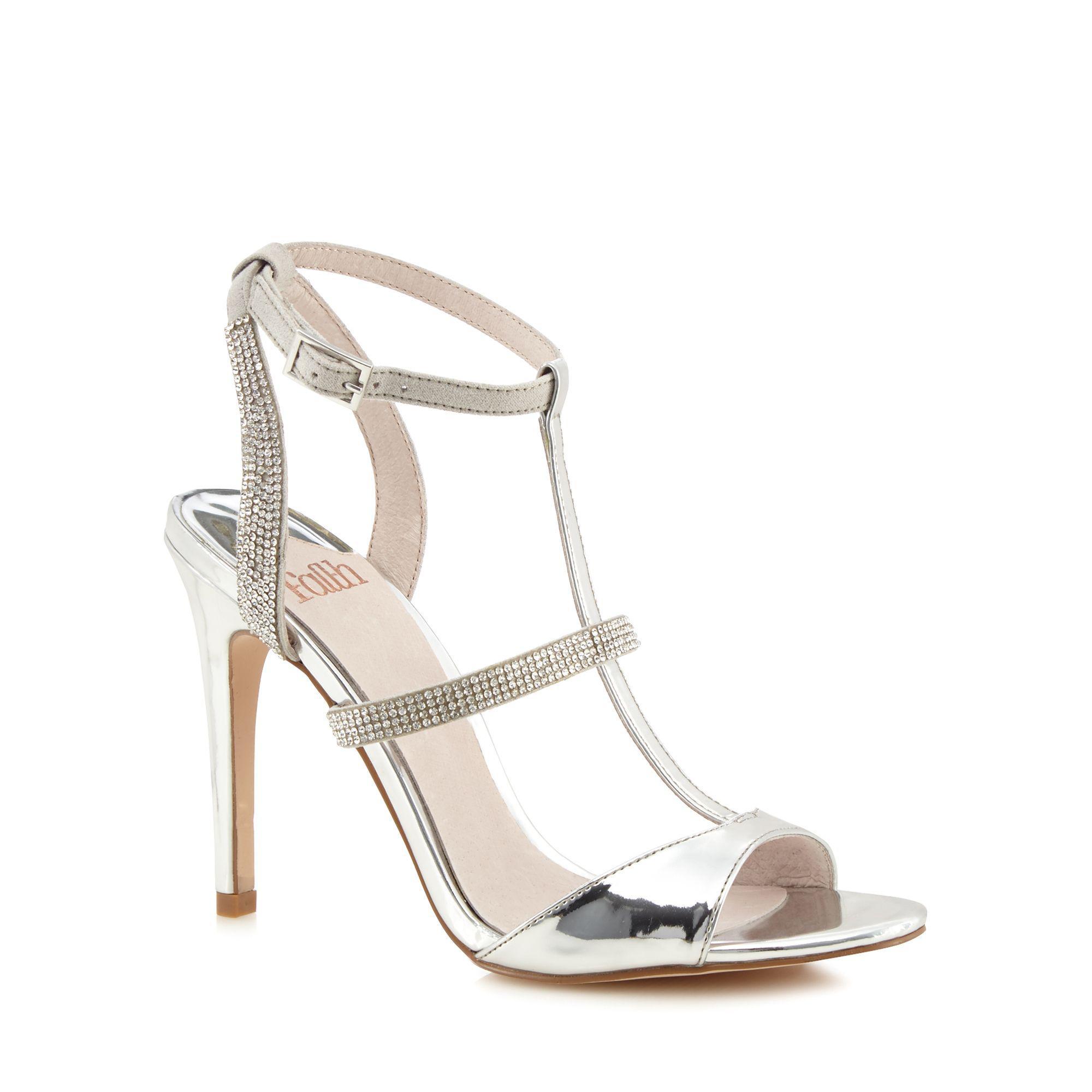 3802523f137 Faith Silver  lindsay  High Stiletto Heel T-bar Shoes in Metallic - Lyst