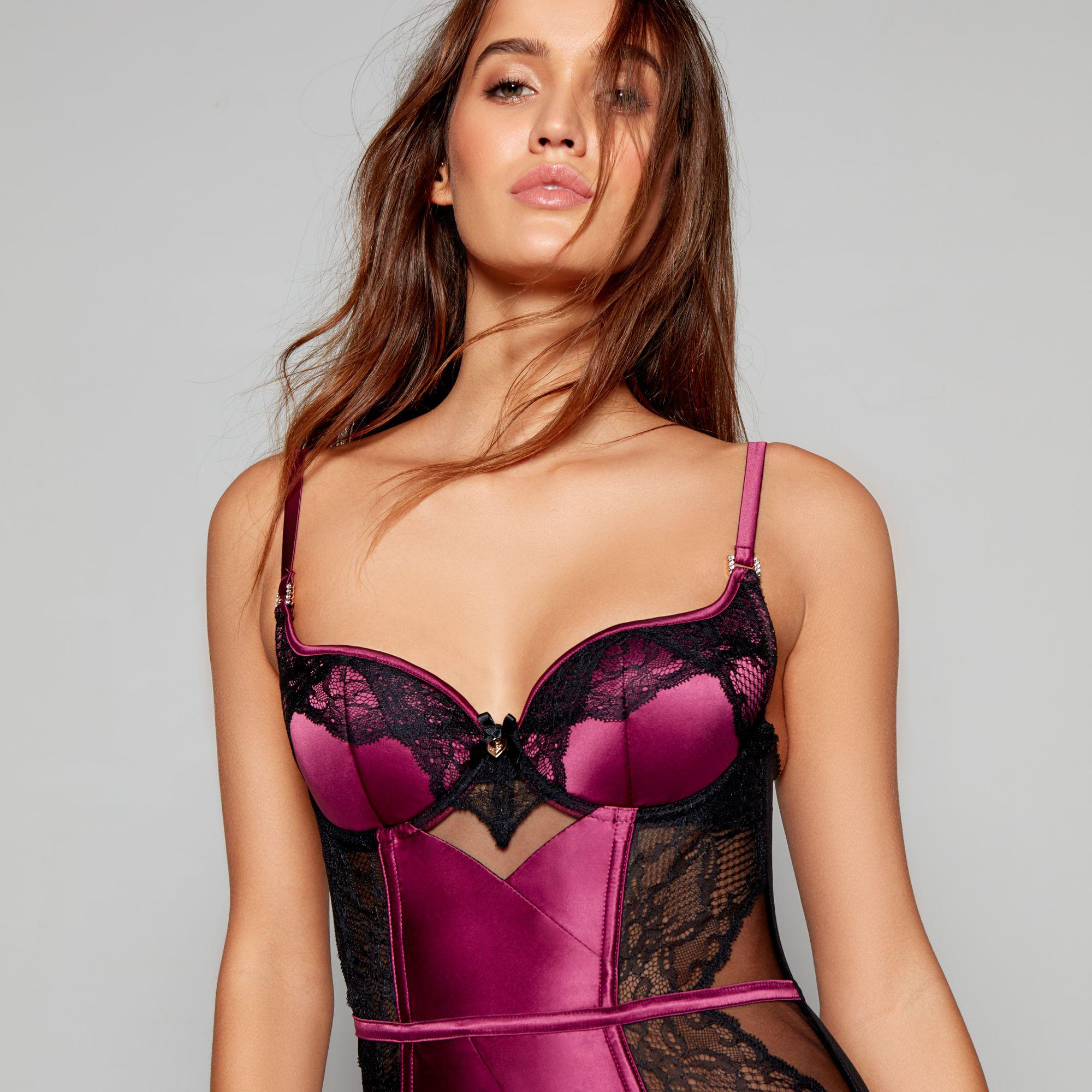 45a0a5e26e Lipsy Purple Satin  kimela  Suspender Basque in Red - Lyst