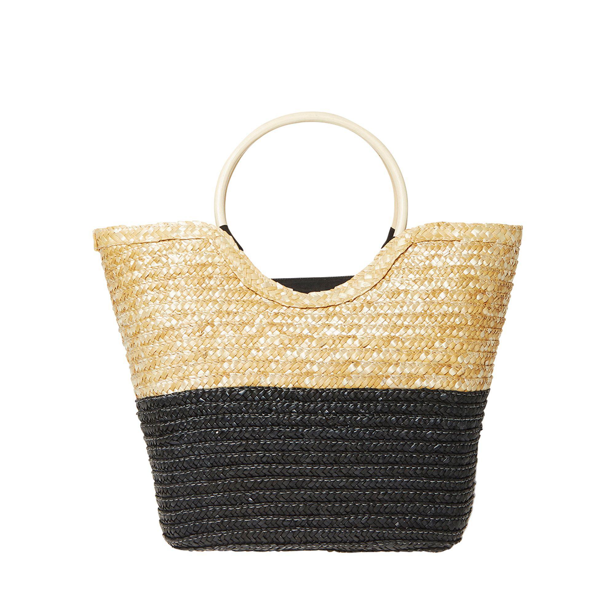 659ecac86a14 Dorothy Perkins Multi Coloured Wooden Hoop Handle Beach Bag in White ...