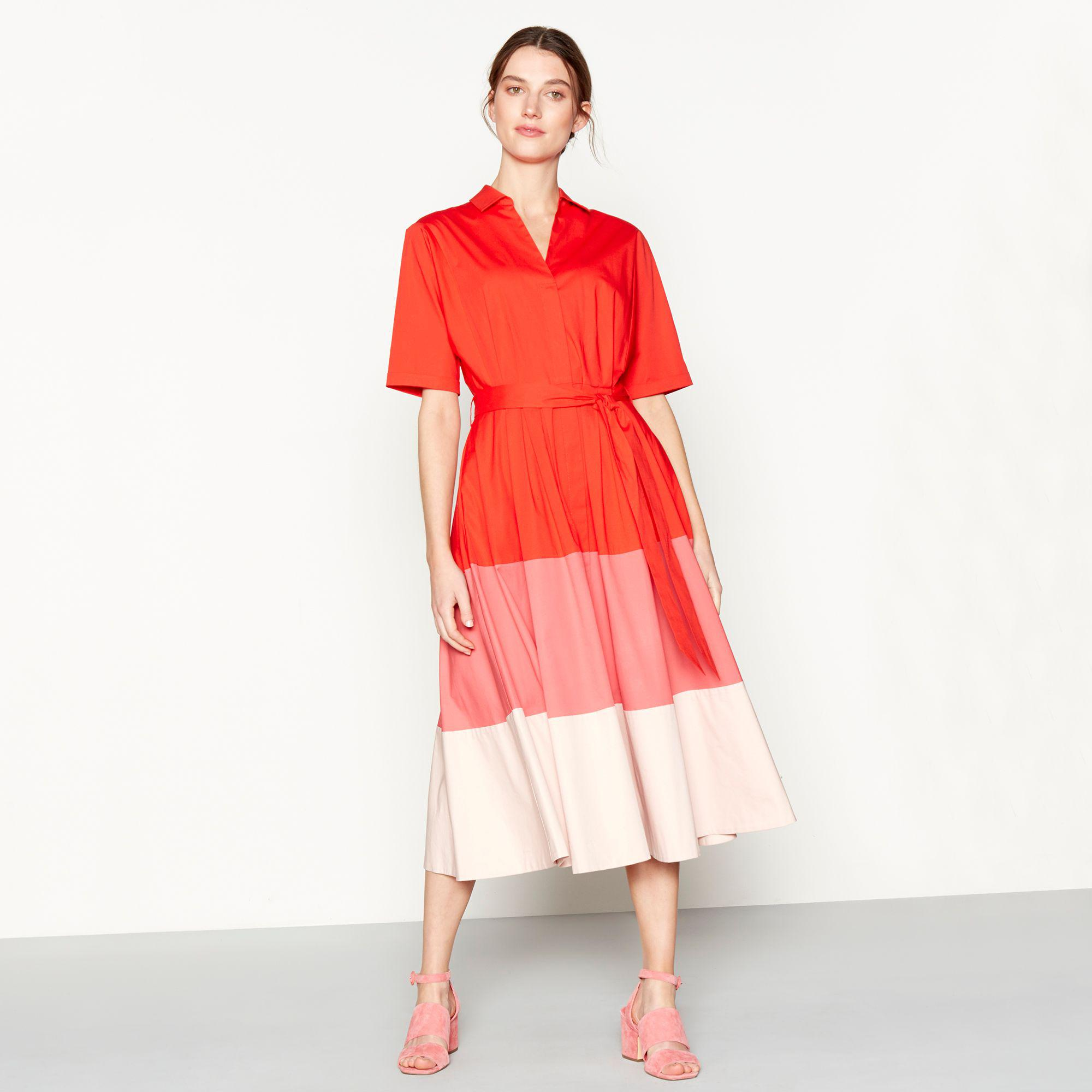 04bed12a1a8e J By Jasper Conran Red Colour Block Cotton Blend Short Sleeve Midi ...