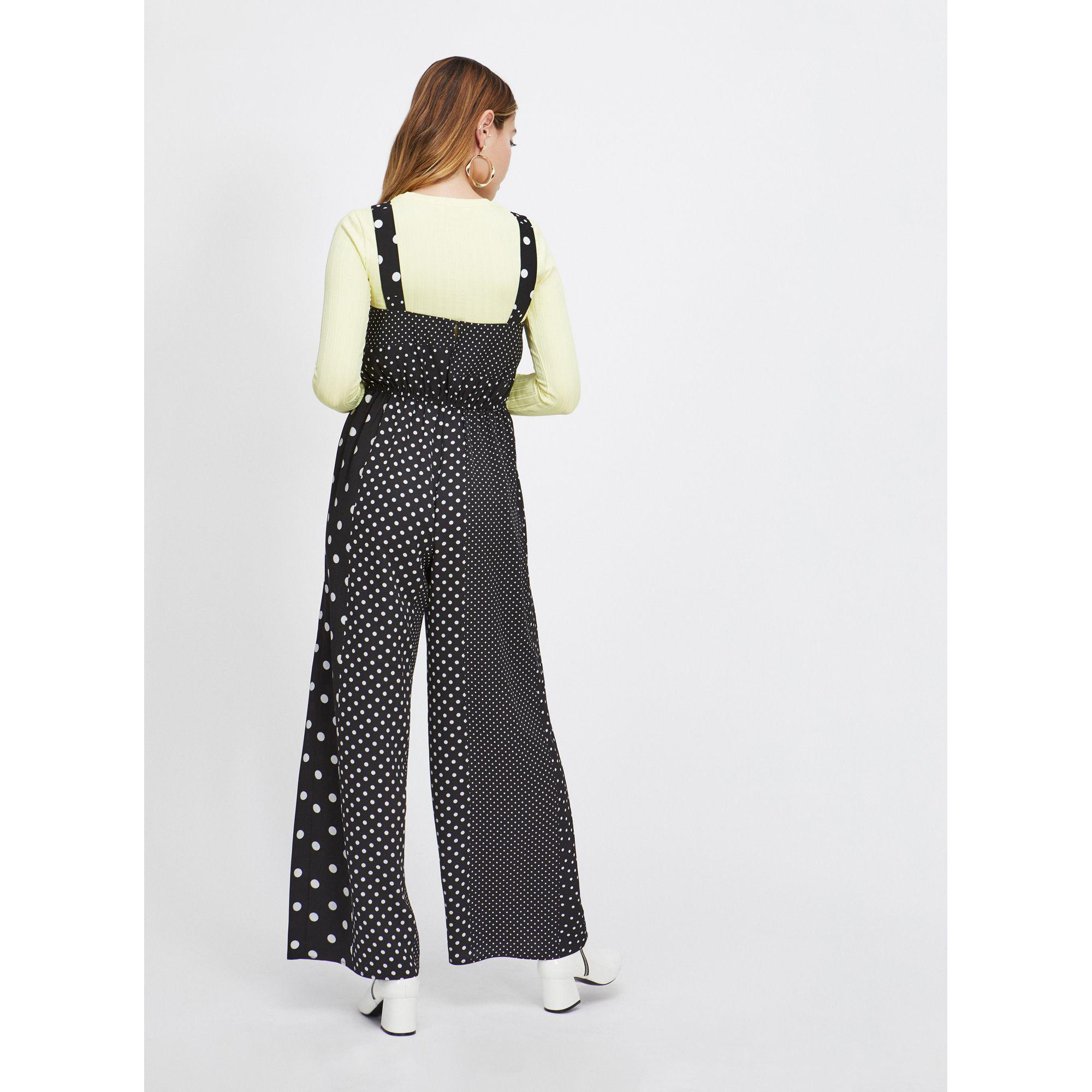 b603b97cb87 Miss Selfridge - Petite Black Spotted Pinafore Jumpsuit - Lyst. View  fullscreen
