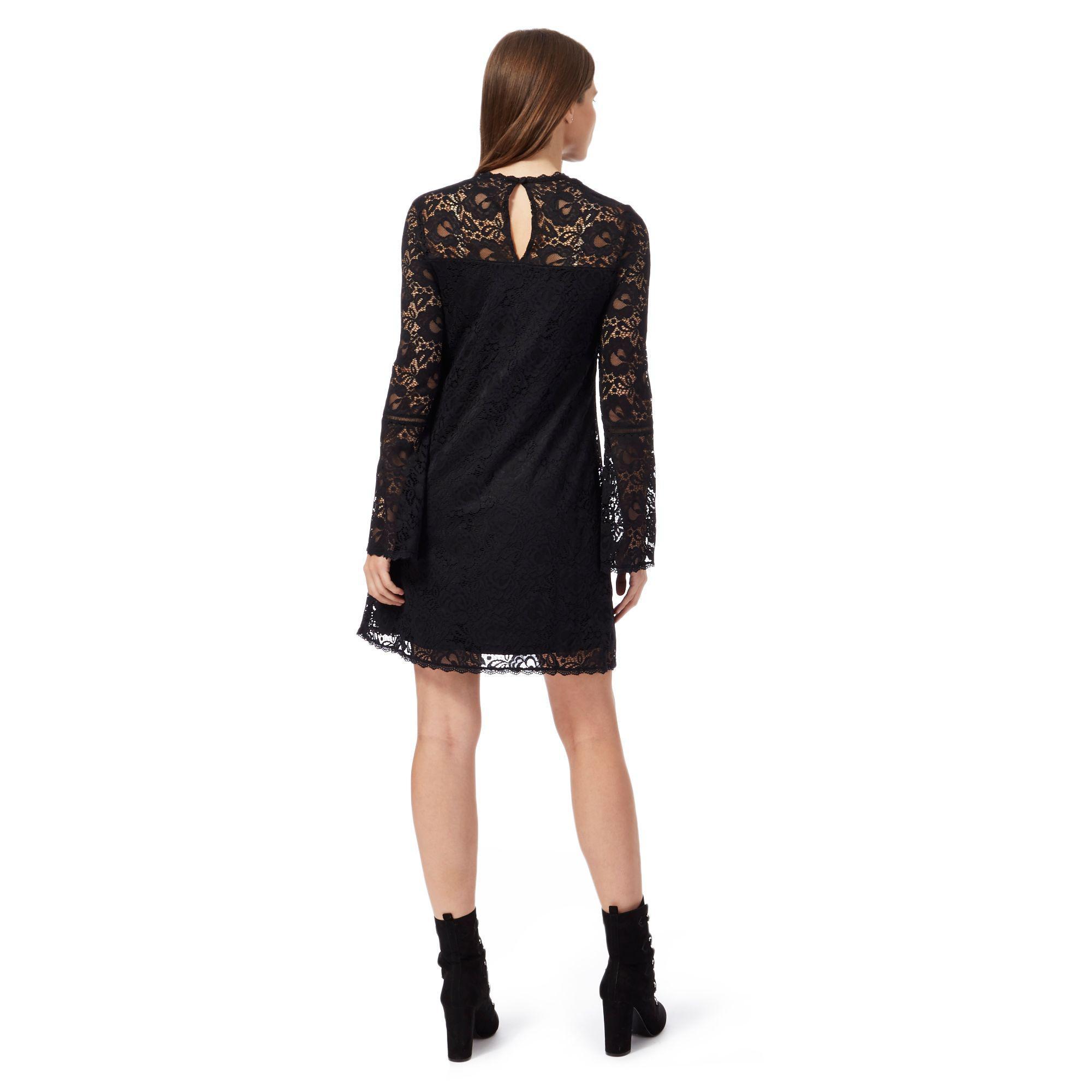 f7e315ac12e Red Herring Black Lace High Neck Long Sleeves Mini Dress in Black - Lyst