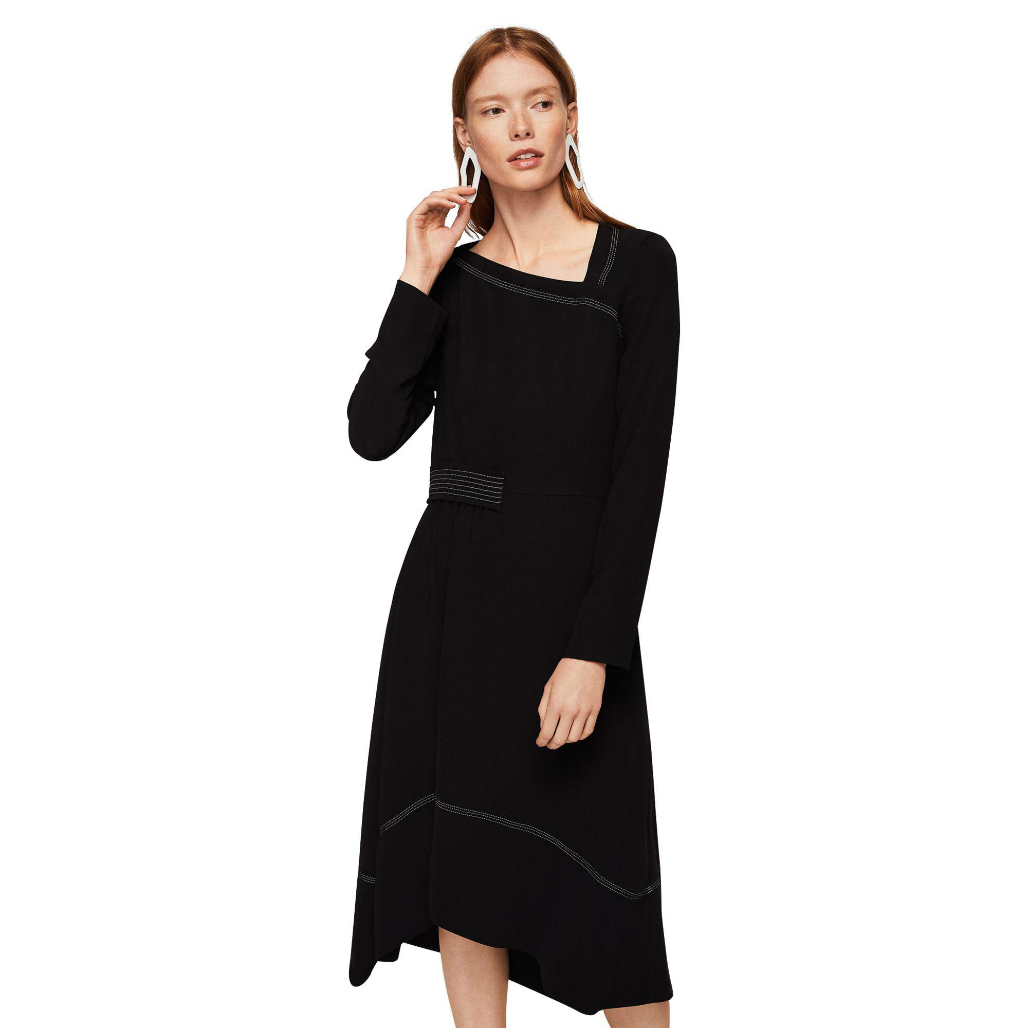 2206ecb12496 Mango Black  marine  Asymmetric Neck Long Sleeve Midi Dress in Black ...