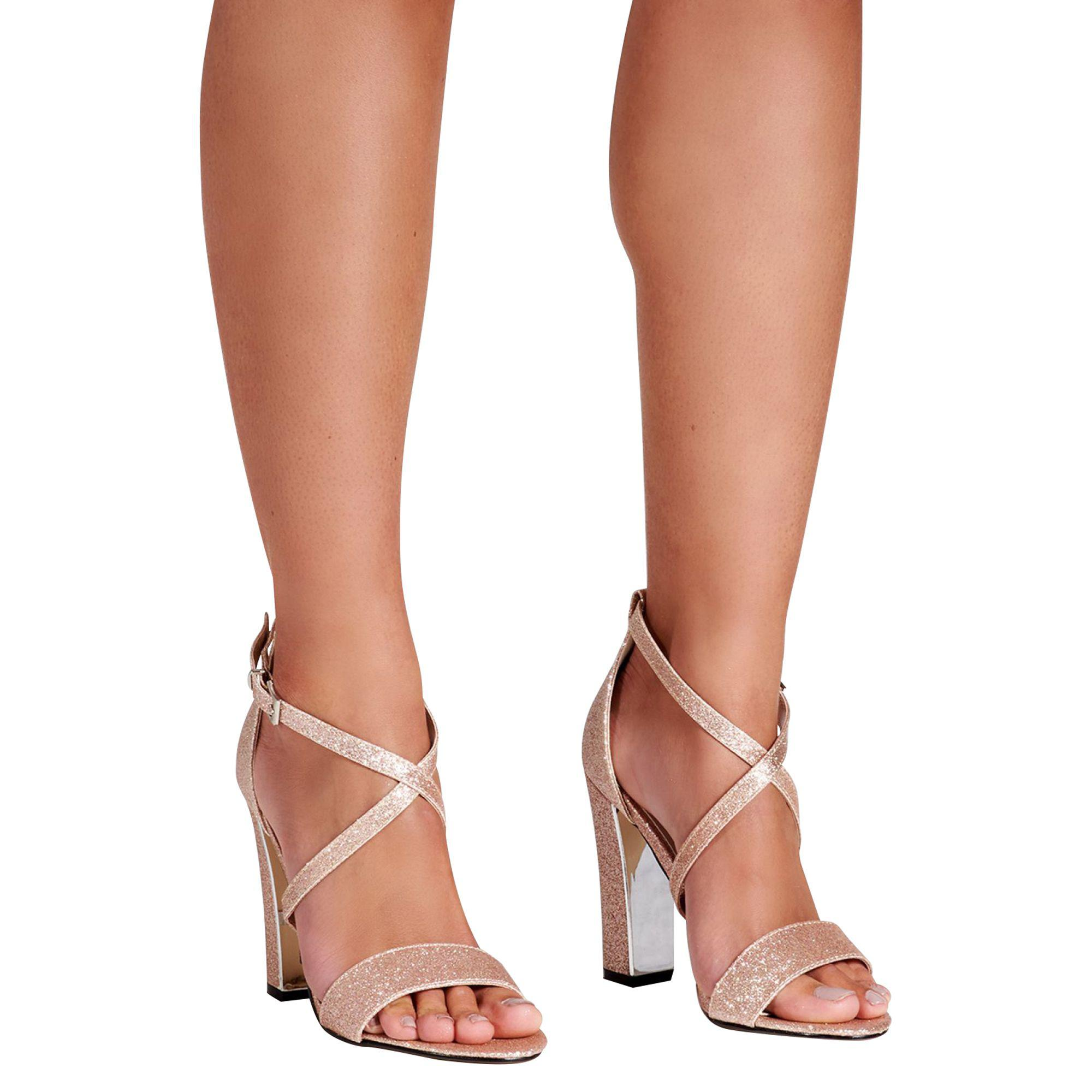 3d36d7bfad1 Quiz - Metallic Rose Gold Glitter Block Heel Strappy Sandals - Lyst. View  fullscreen