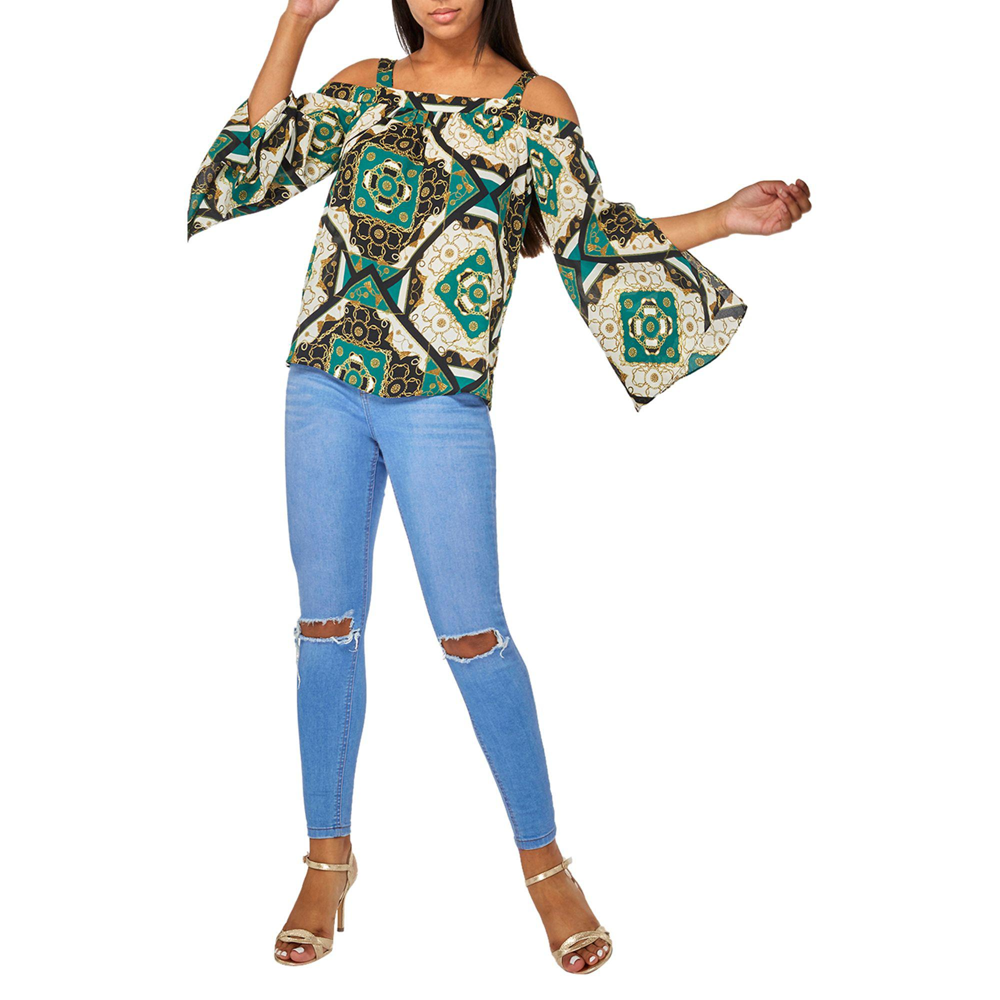 21444b552c12d4 Dorothy Perkins Green Chain Print Cold Shoulder Top in Green - Save ...