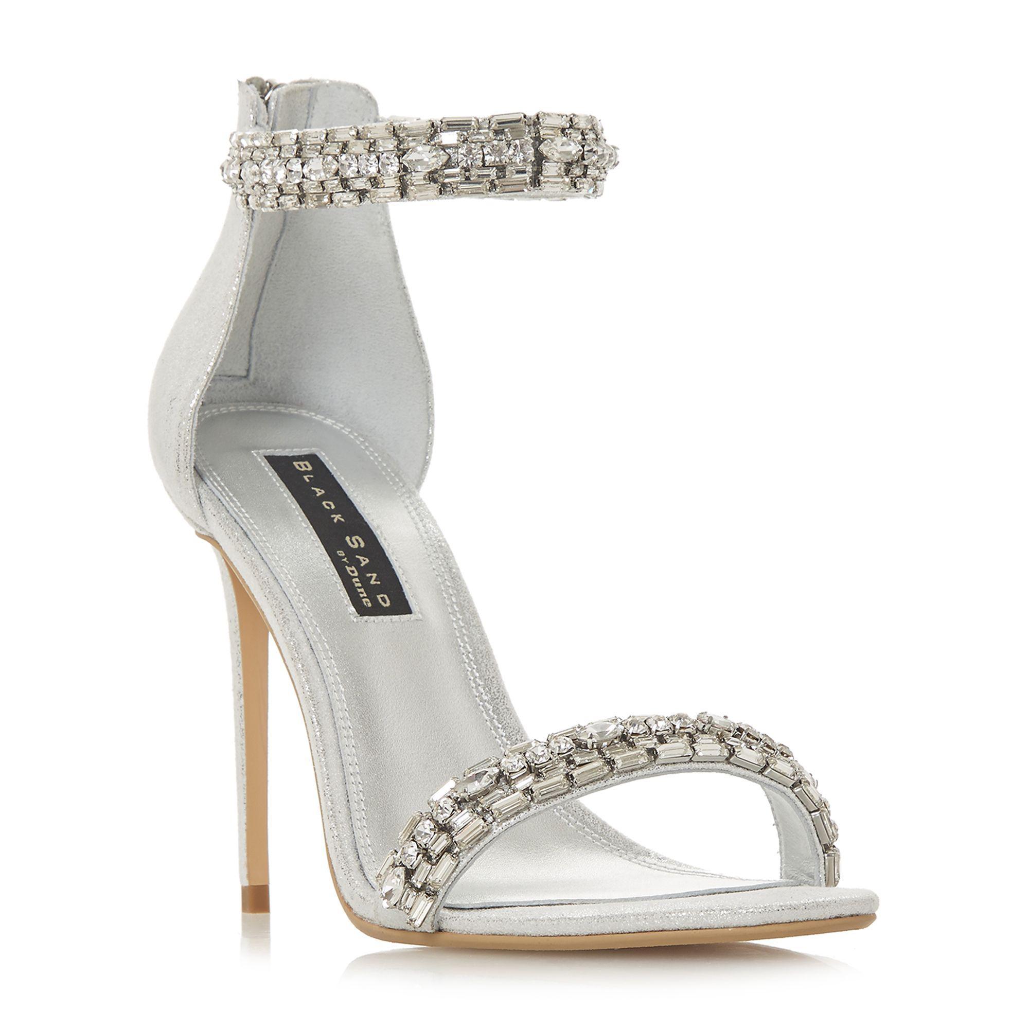 faa3982c3d1 Dune Silver  marniee  High Stiletto Heel Peep Toe Sandals in ...