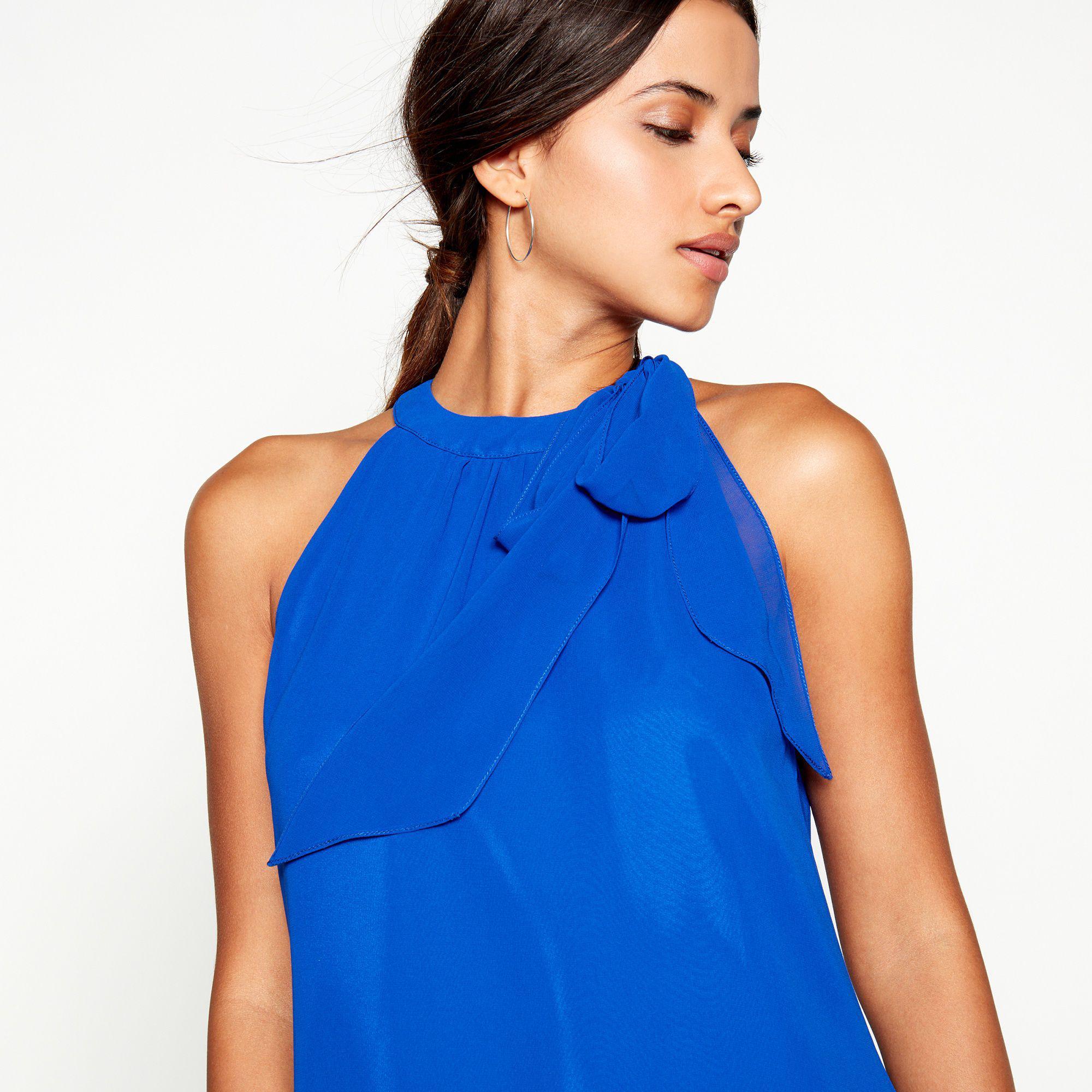 f78d69757ad Début Bright Blue Tie Neck  elsa  Chiffon Knee Length Plus Size ...