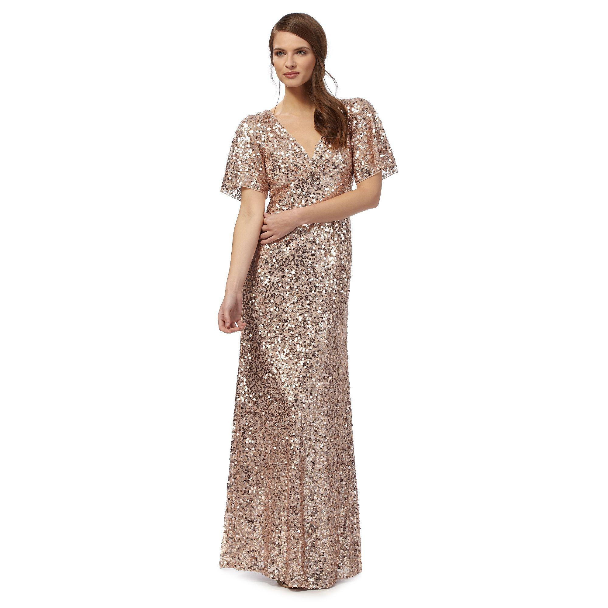 Jenny Packham Pink Embellished Carys V Neck Evening Dress In Inside Wedges Beige 39 View Fullscreen