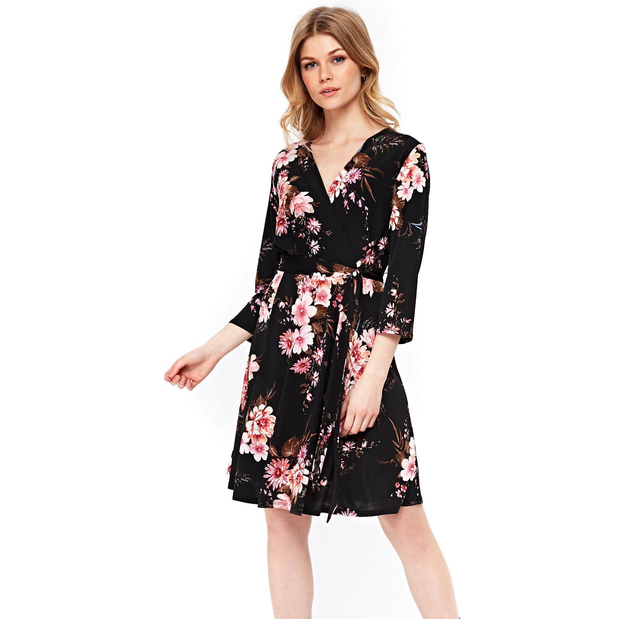 Fit Flare In Floral Print Dress And Black Wallis Lyst Petite IY9DWEH2