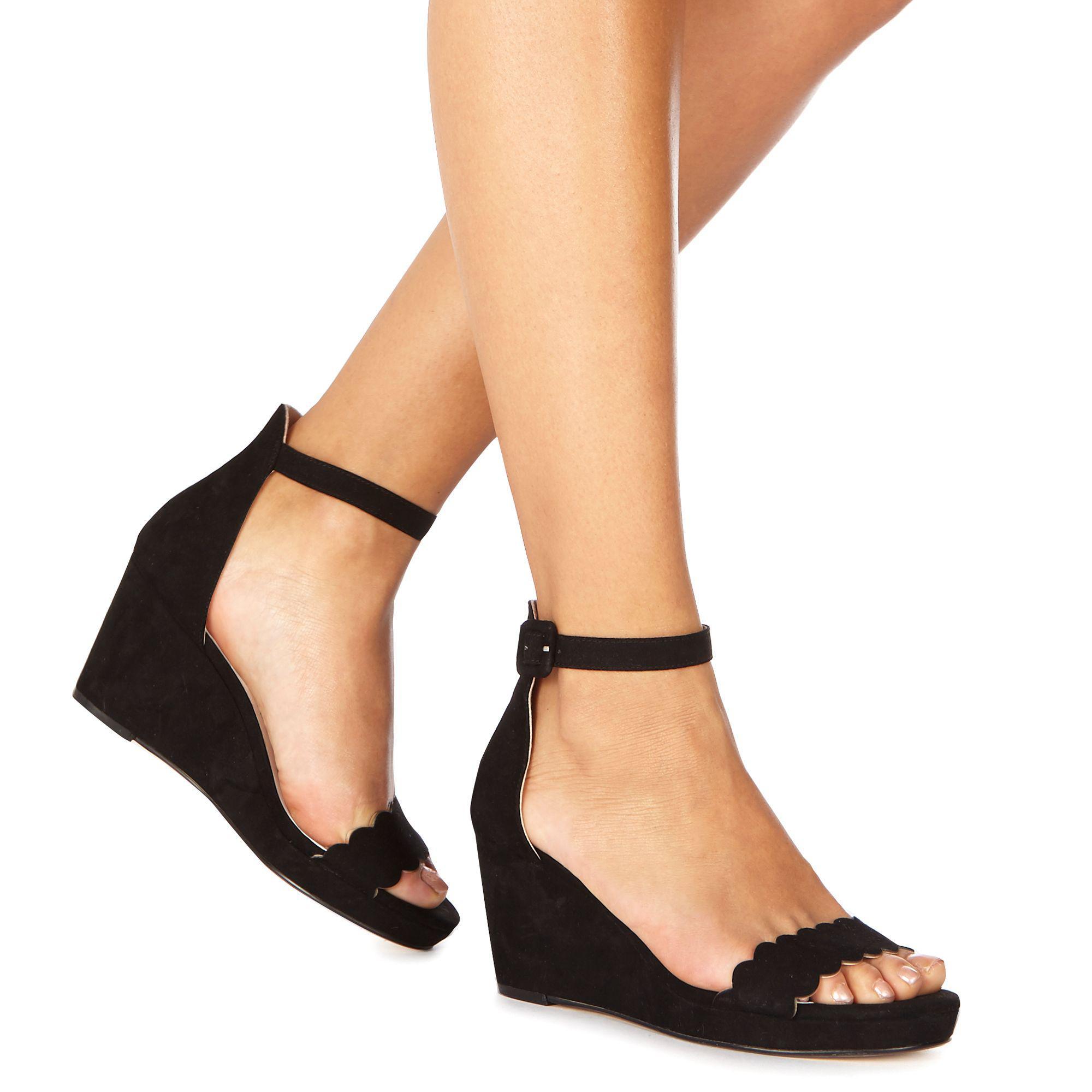 9a47c6506d0f Faith. Women s Black Suedette  dust  Mid Wedge Heel Ankle Strap Sandals