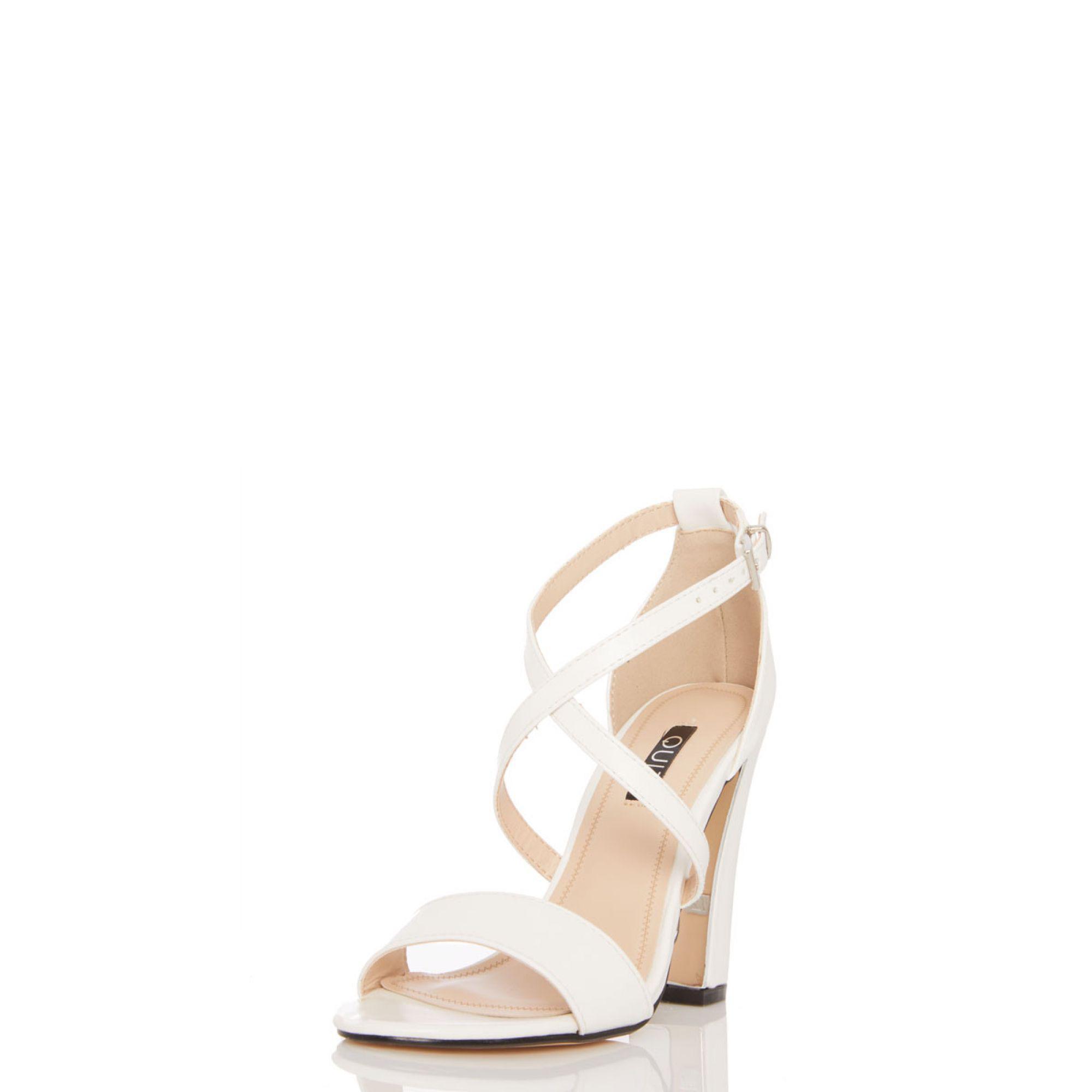 6895004be Quiz - White Cross Strap Chunky Heel Sandals - Lyst. View fullscreen