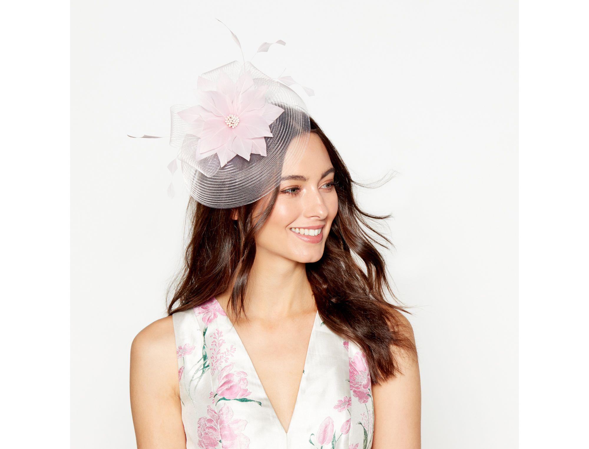 Dbut Light Pink Feather Flower Fascinator In Pink Lyst