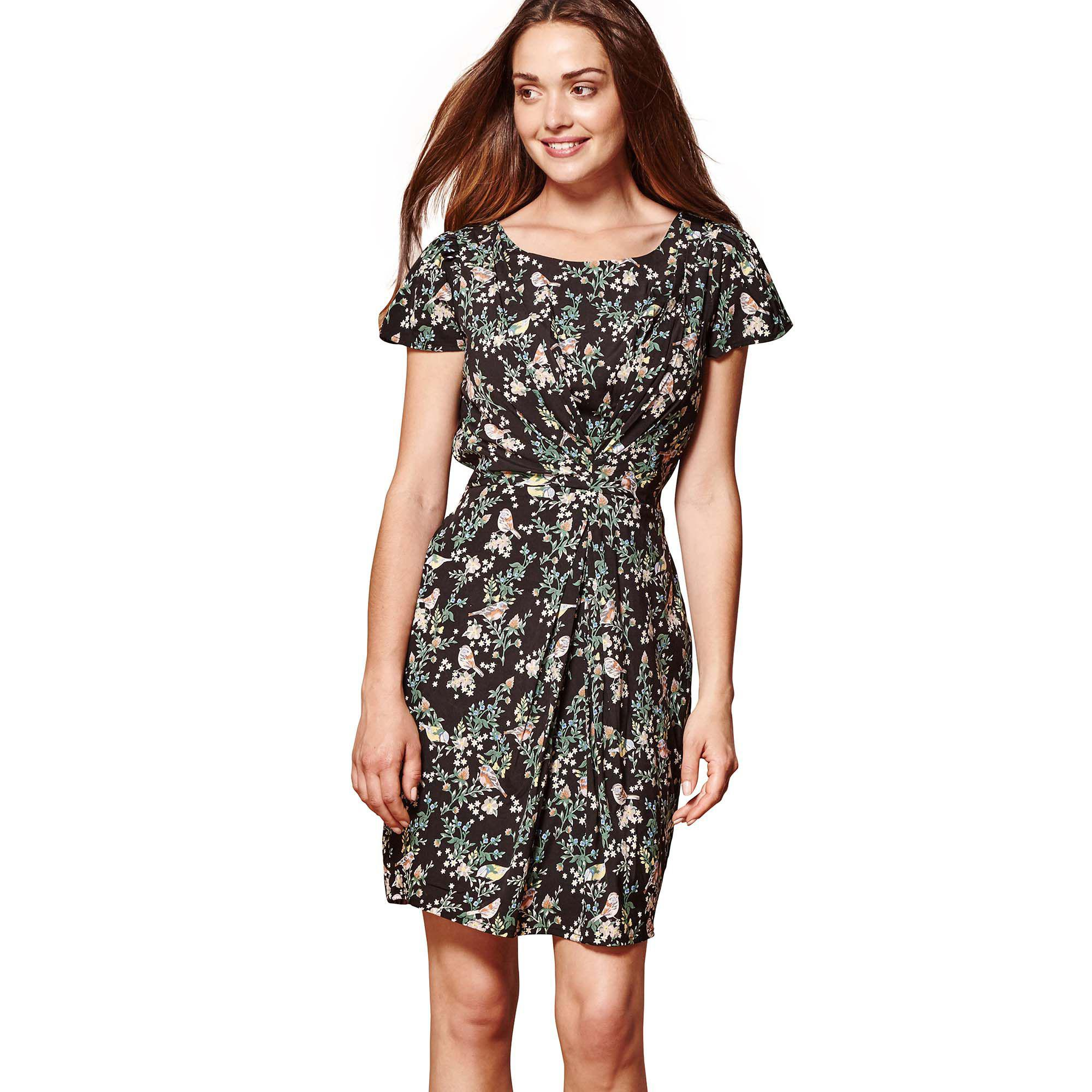 c5ce370121a Yumi  Black Floral Print  indigo  Pleated Tea Dress in Black - Lyst