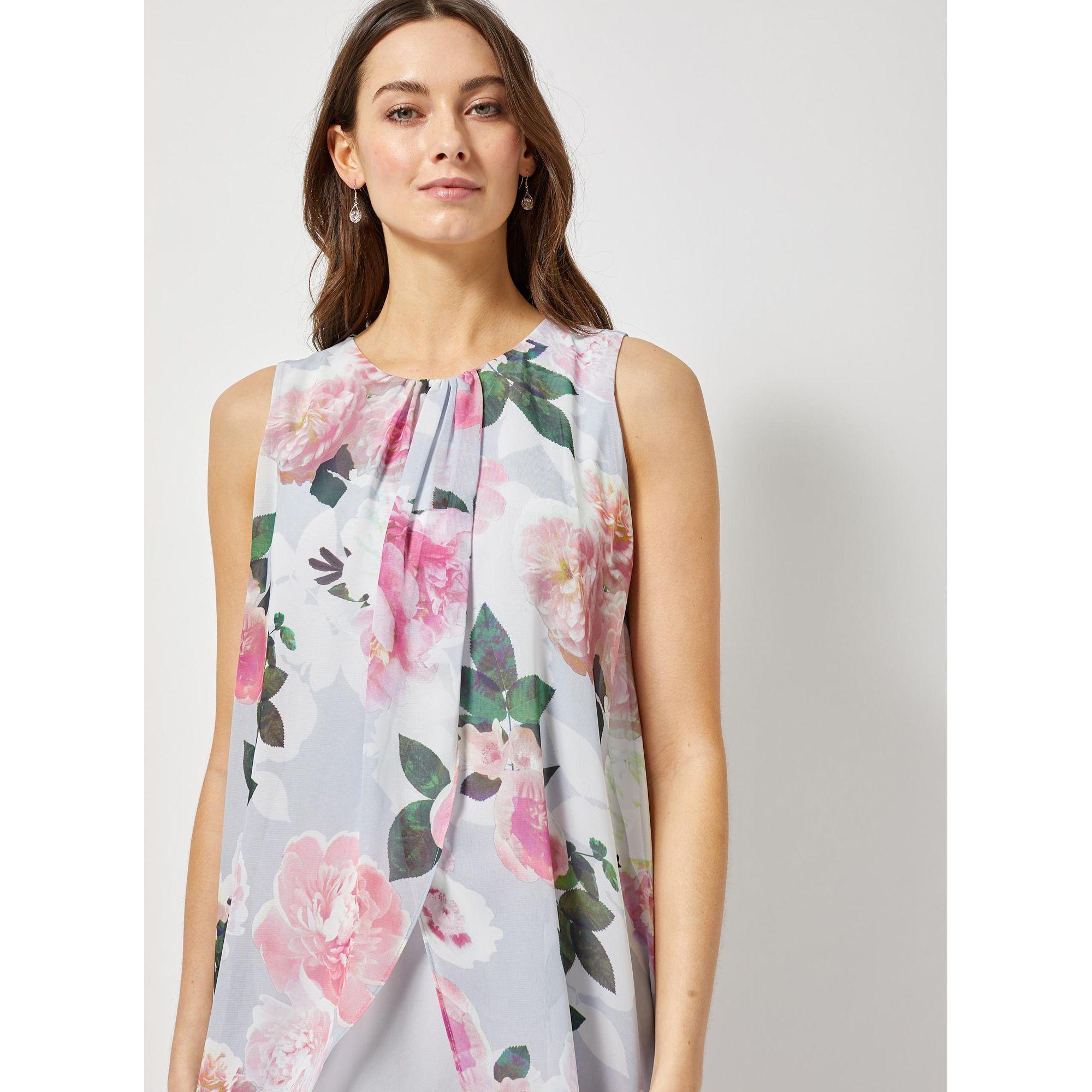 74396c5d572ba Dorothy Perkins - Gray Billie And Blossom Grey Floral Print Maxi Trapeze  Dress - Lyst. View fullscreen