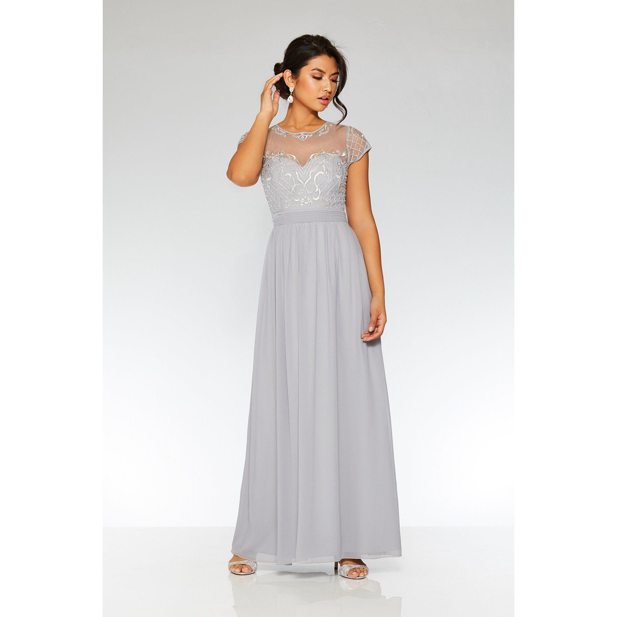 676cbdd6ab1 Quiz Grey Chiffon Cap Sleeve Maxi Dress in Gray - Lyst