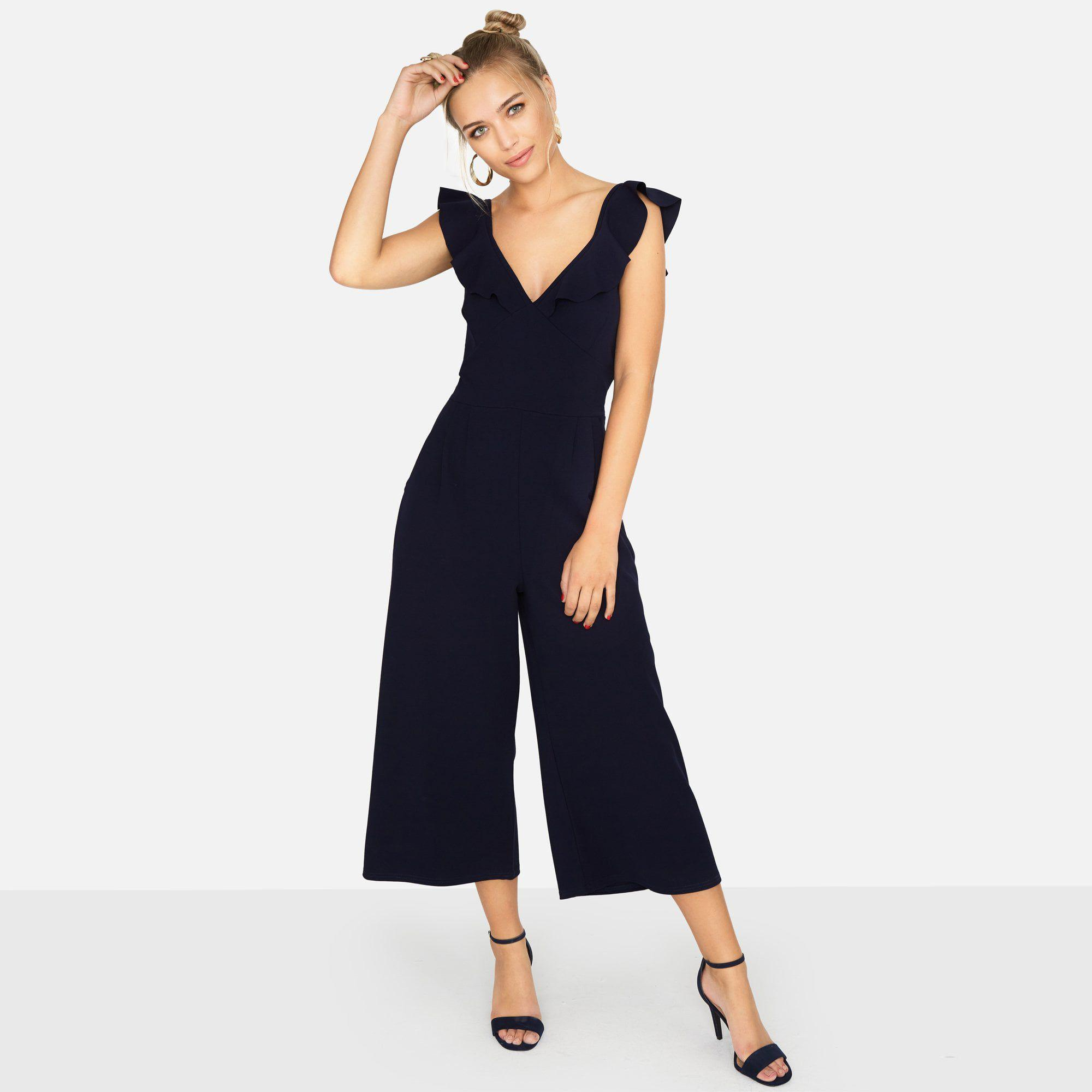 cfcbca2d79f3 Girls On Film Navy Veto Frill Culotte Jumpsuit in Blue - Lyst