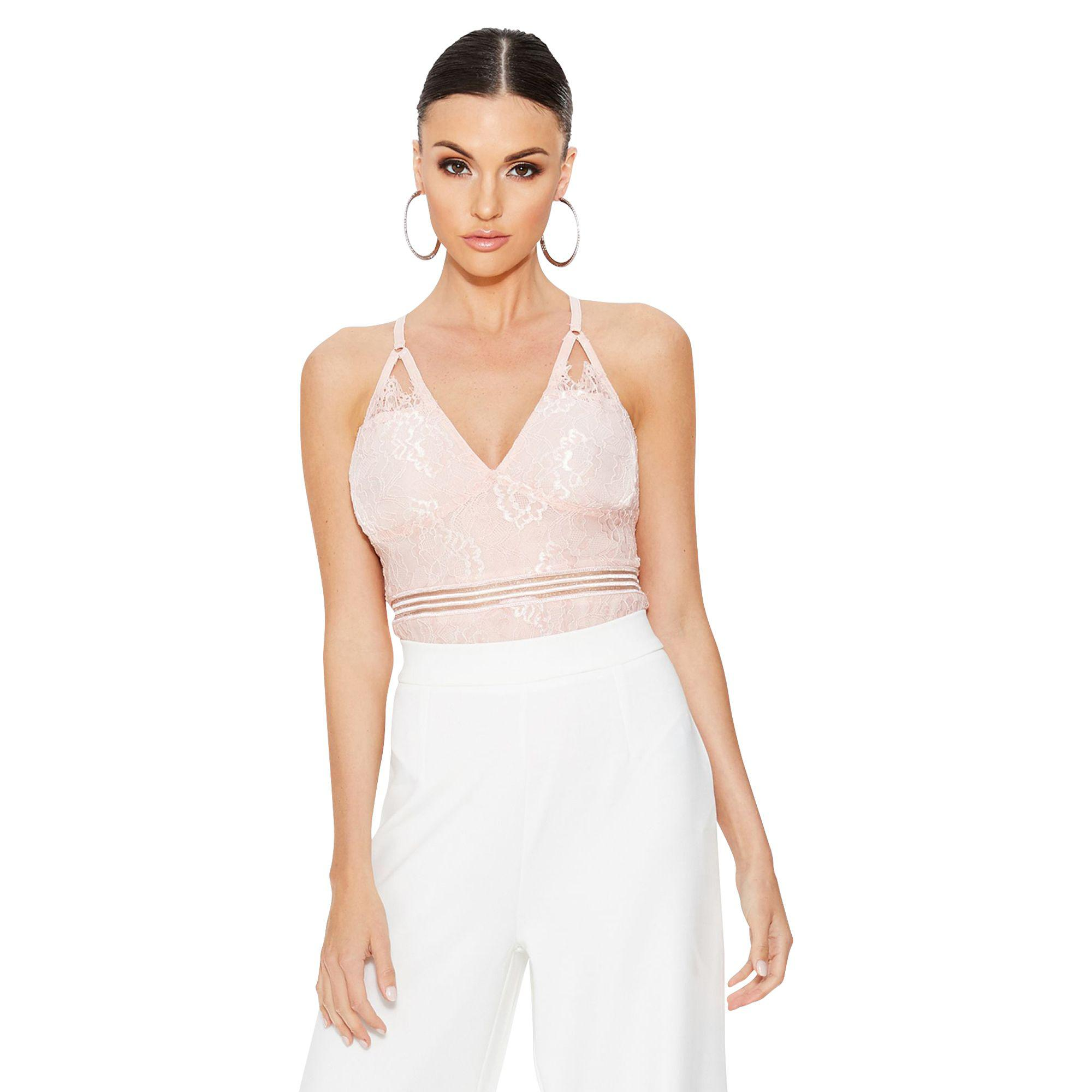 Quiz Blush Pink Lace Backless Strap Bodysuit in Pink - Lyst 63fdfd8b4