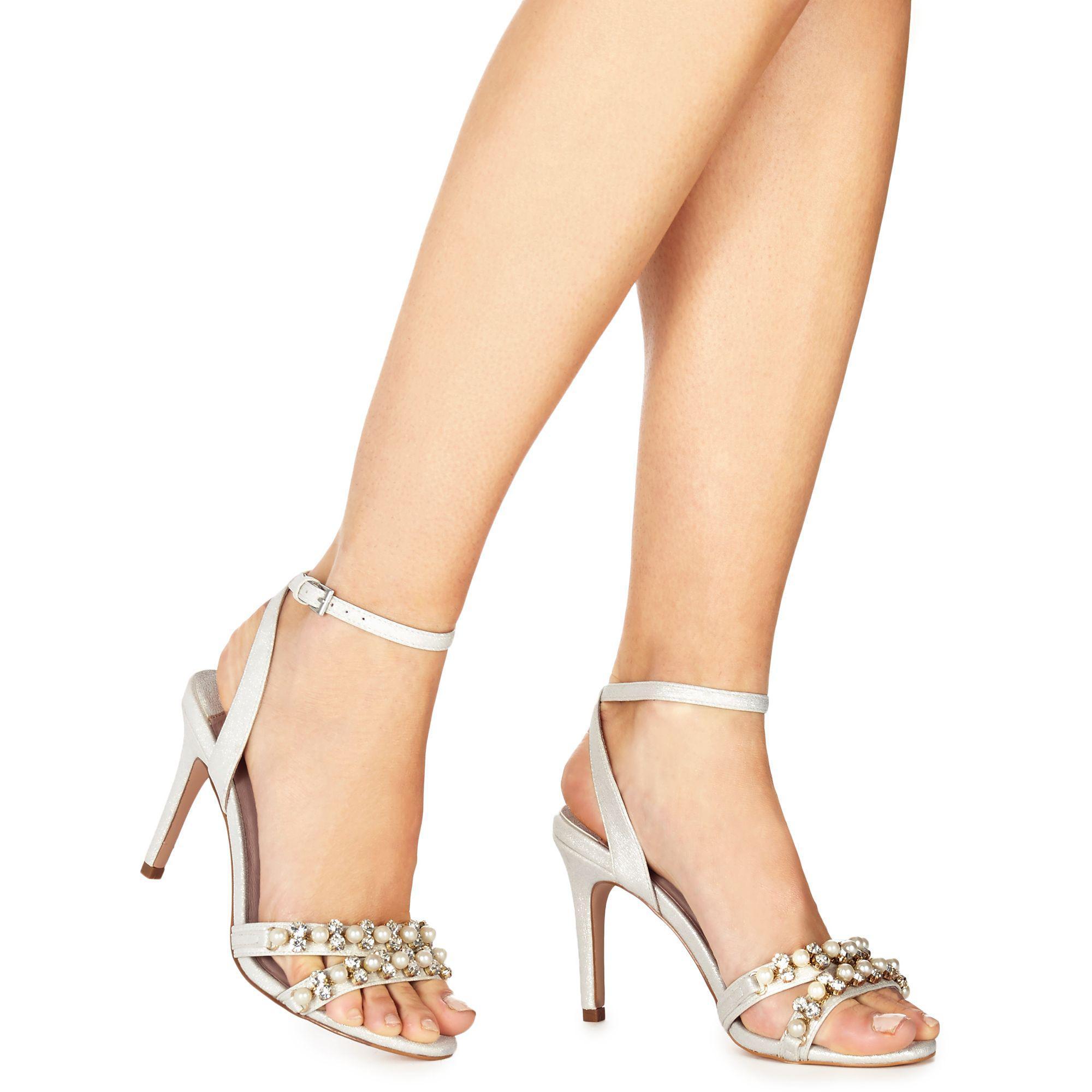 0570d9e6f01 Faith. Women s White Ivory Metallic  darha  High Stiletto Heel Ankle Strap  Sandals
