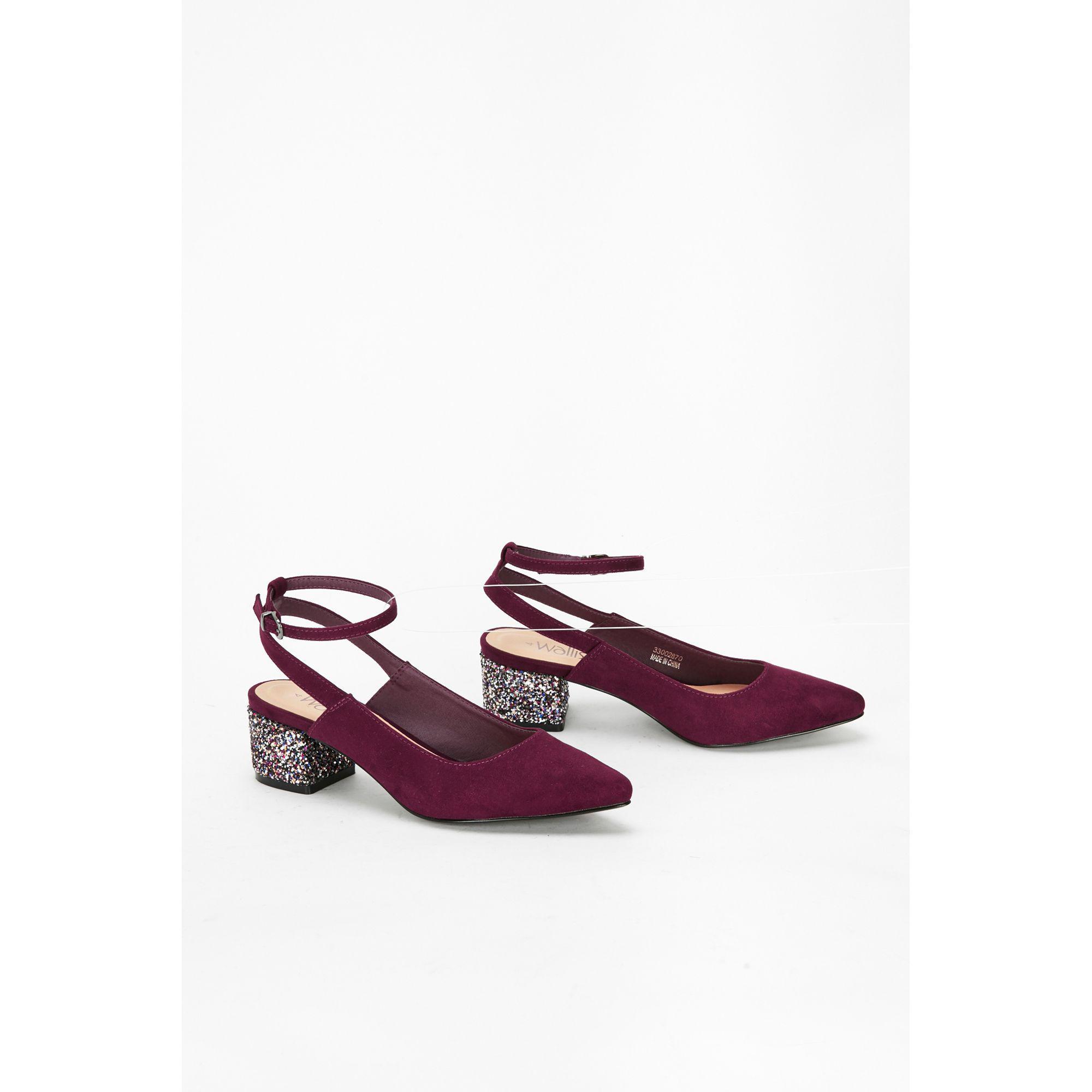 3579c7df57956 ... Berry Glitter Heel Ankle Strap Sandals - Lyst. View fullscreen