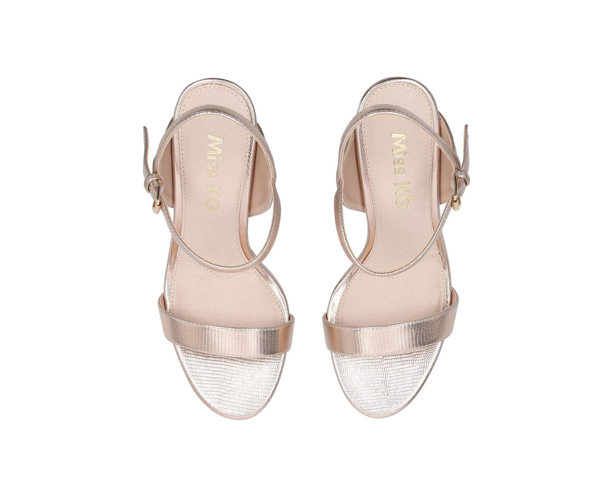94ffb8a82e8 Miss Kg Rose  poppy  Gold Mid Heel Sandals in Metallic - Lyst