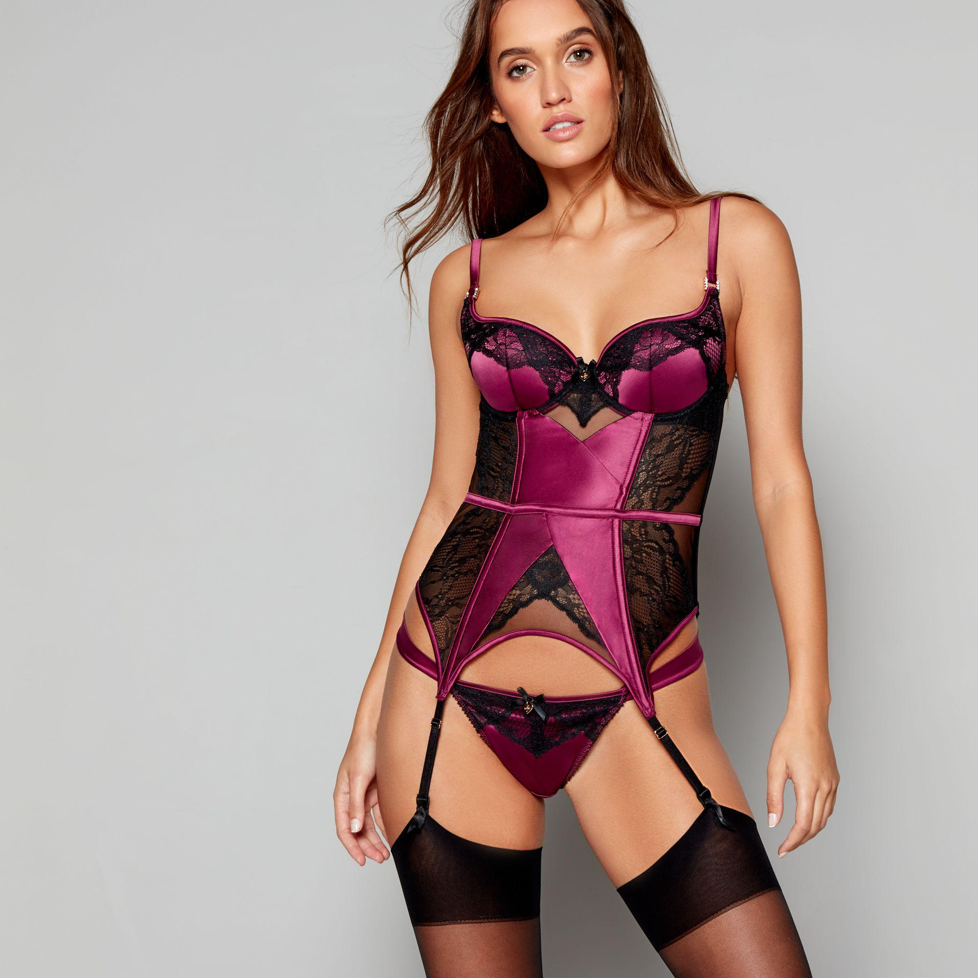 cb87ead746496 Lipsy Purple Satin 'kimela' Suspender Basque in Red - Lyst