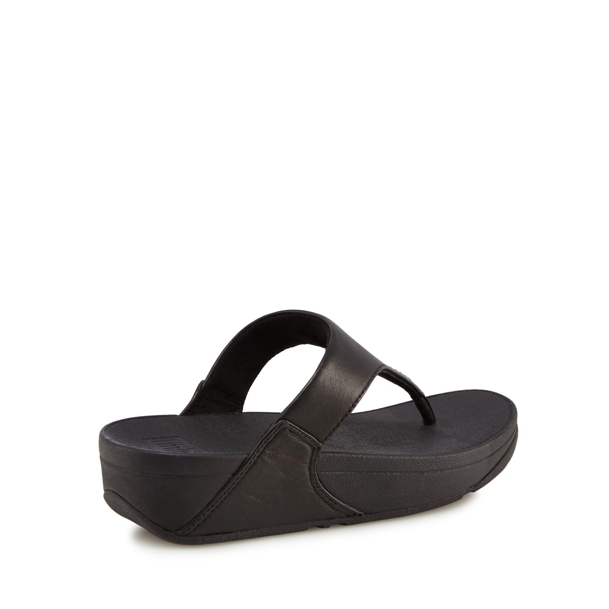 21940d00241 Fitflop Black Leather  lulu  Mid Flatform Heel Flip Flops in Black ...