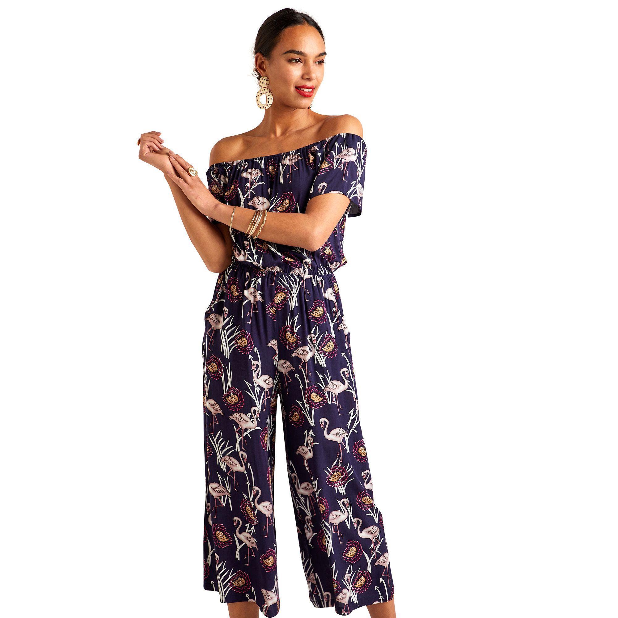 e5af15e4b2 Yumi  Navy Flamingo Print Jumpsuit in Blue - Lyst