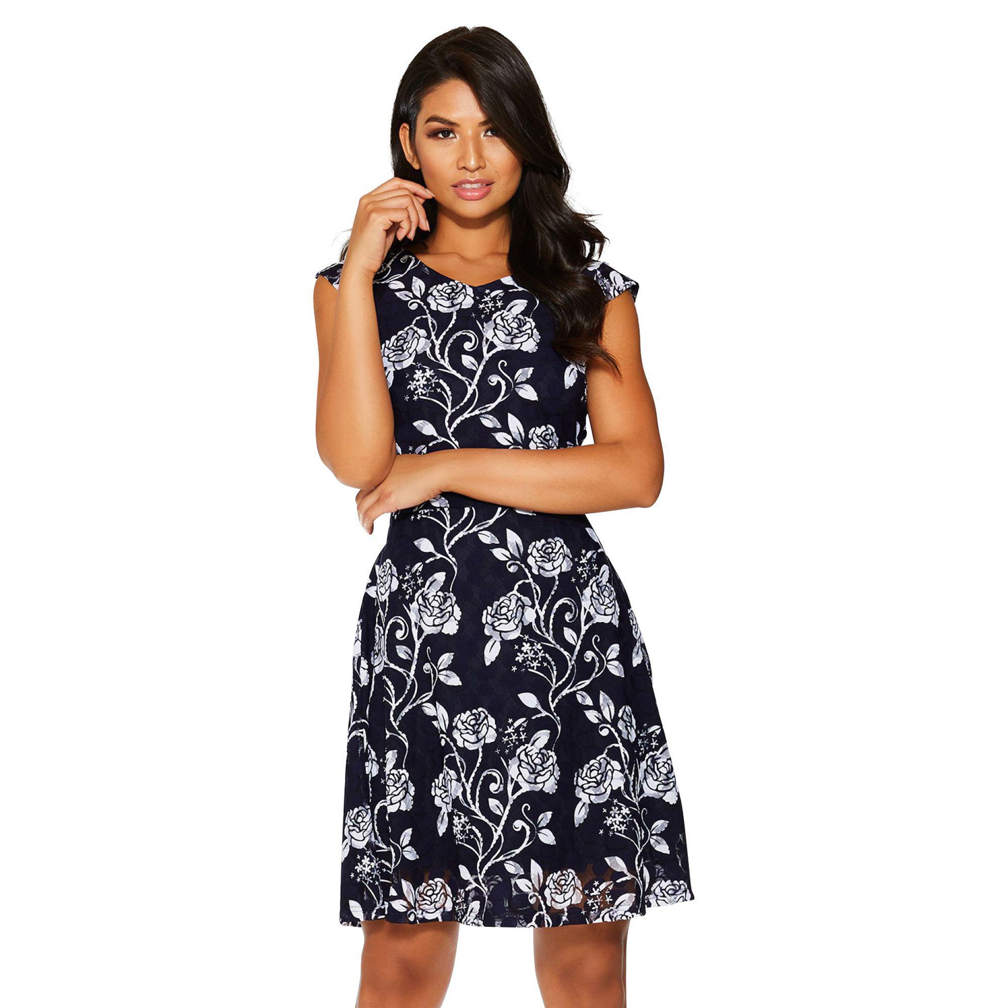 328419b2f1 Quiz Navy Lace Flower Print Skater Dress in Blue - Lyst