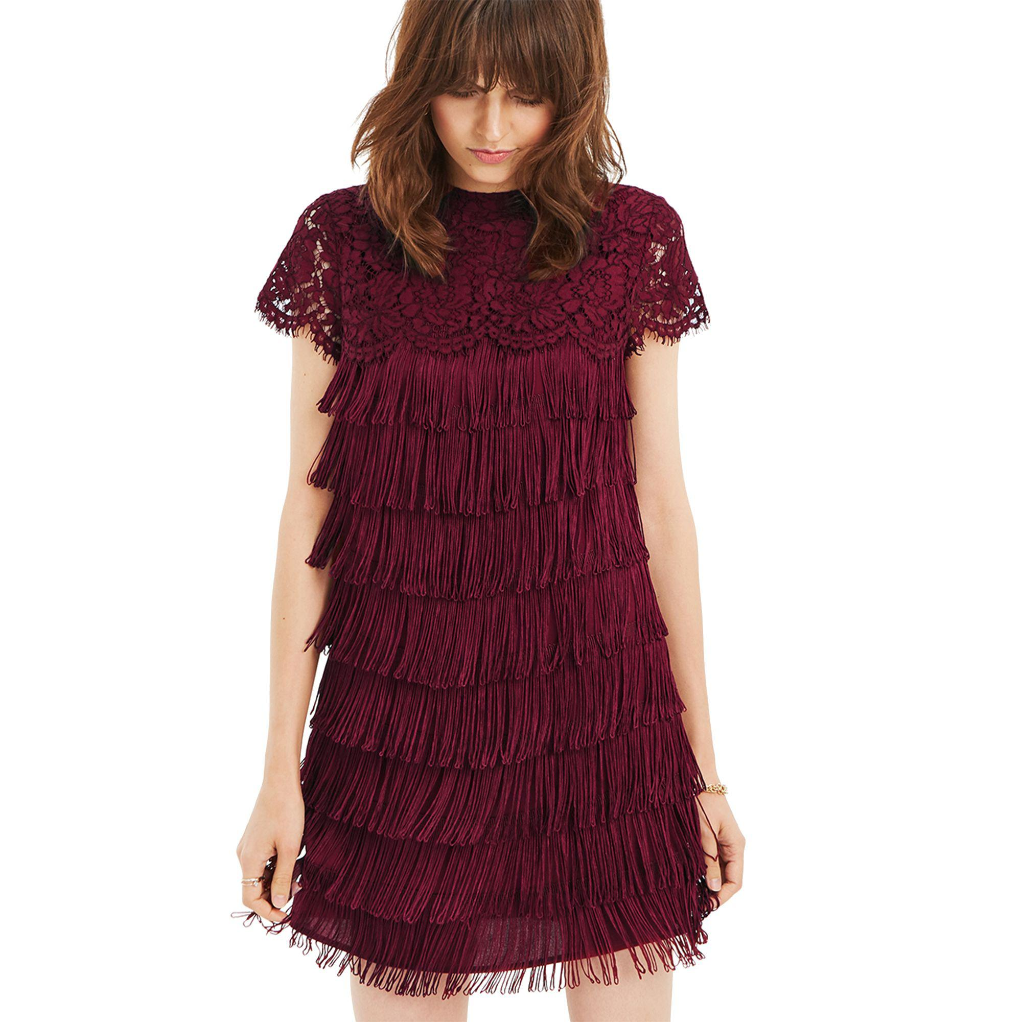 a0509bd51aac Oasis Burgundy Lace And Fringe Shift Dress in Red - Lyst