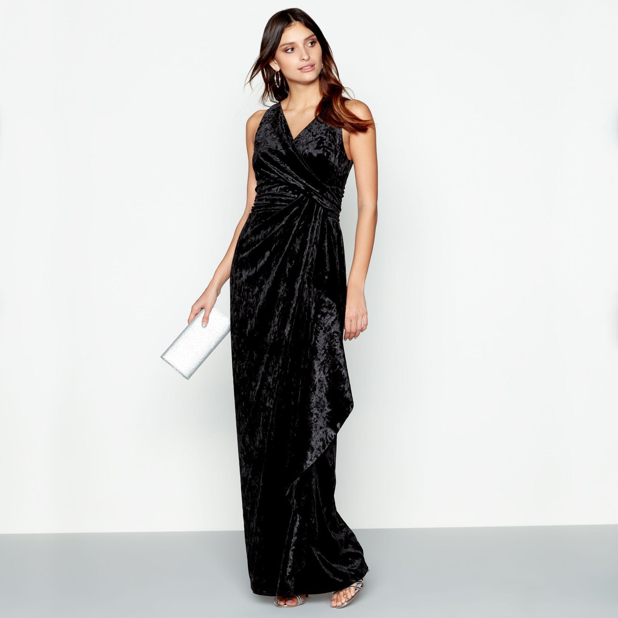 Début Black Velvet \'viv\' V-neck Evening Dress in Black - Lyst