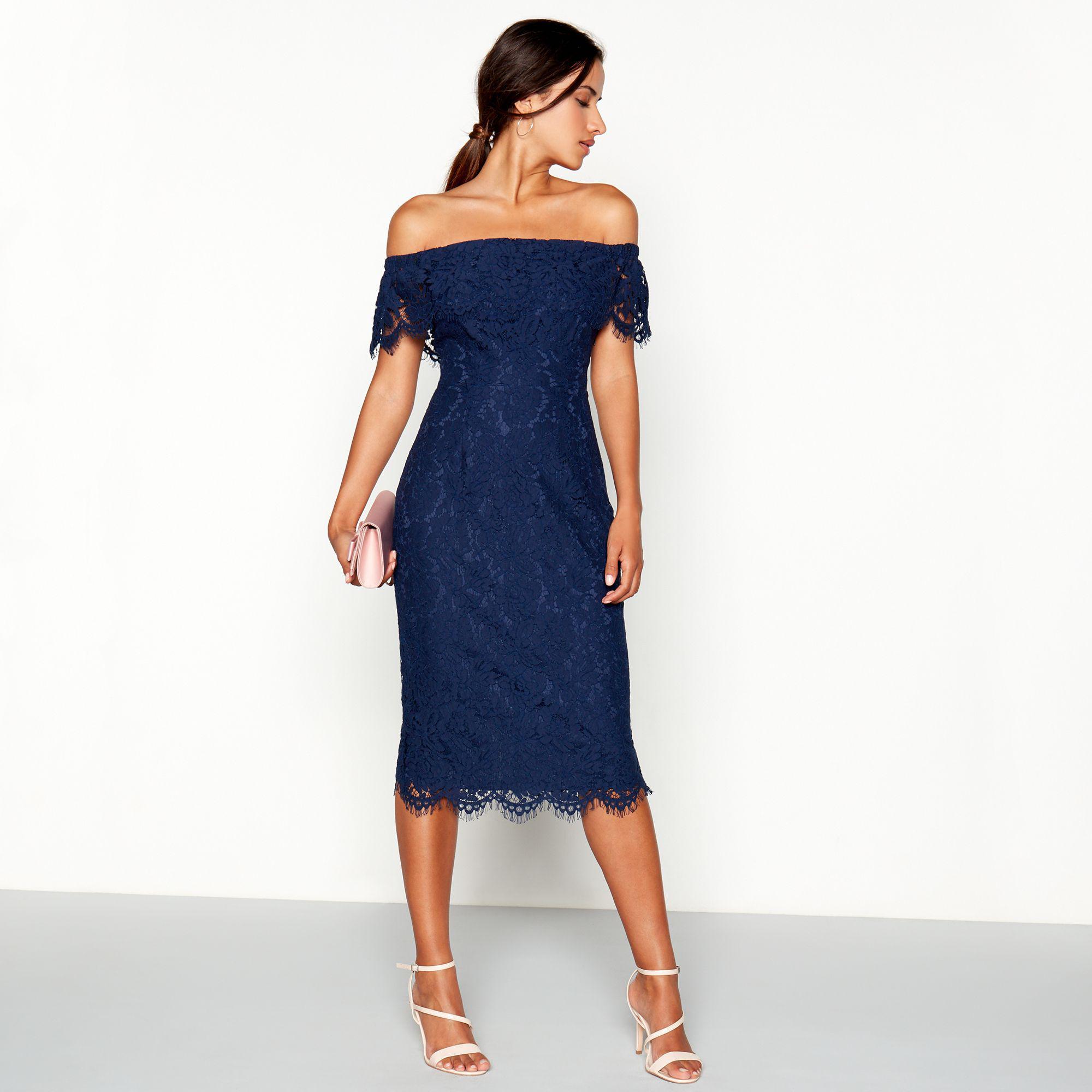 f76957c23f8 Début Navy Lace  briana  Bardot Neck Midi Dress in Blue - Lyst