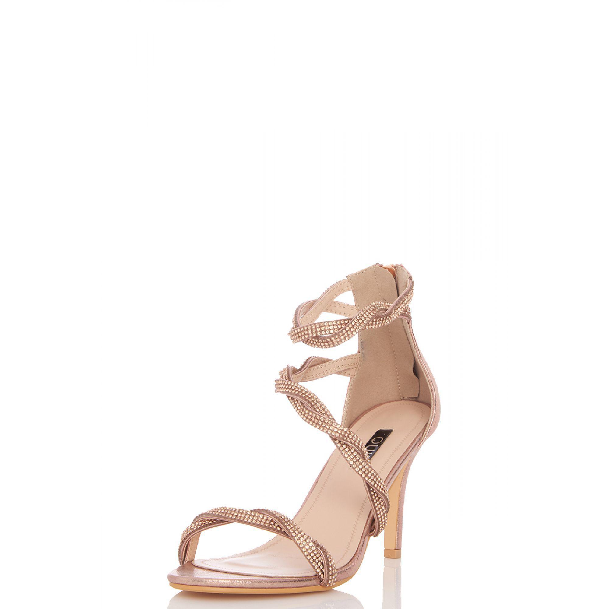 fa9888b0360a ... Rose Gold Diamante Twist Heel Sandals - Lyst. View fullscreen