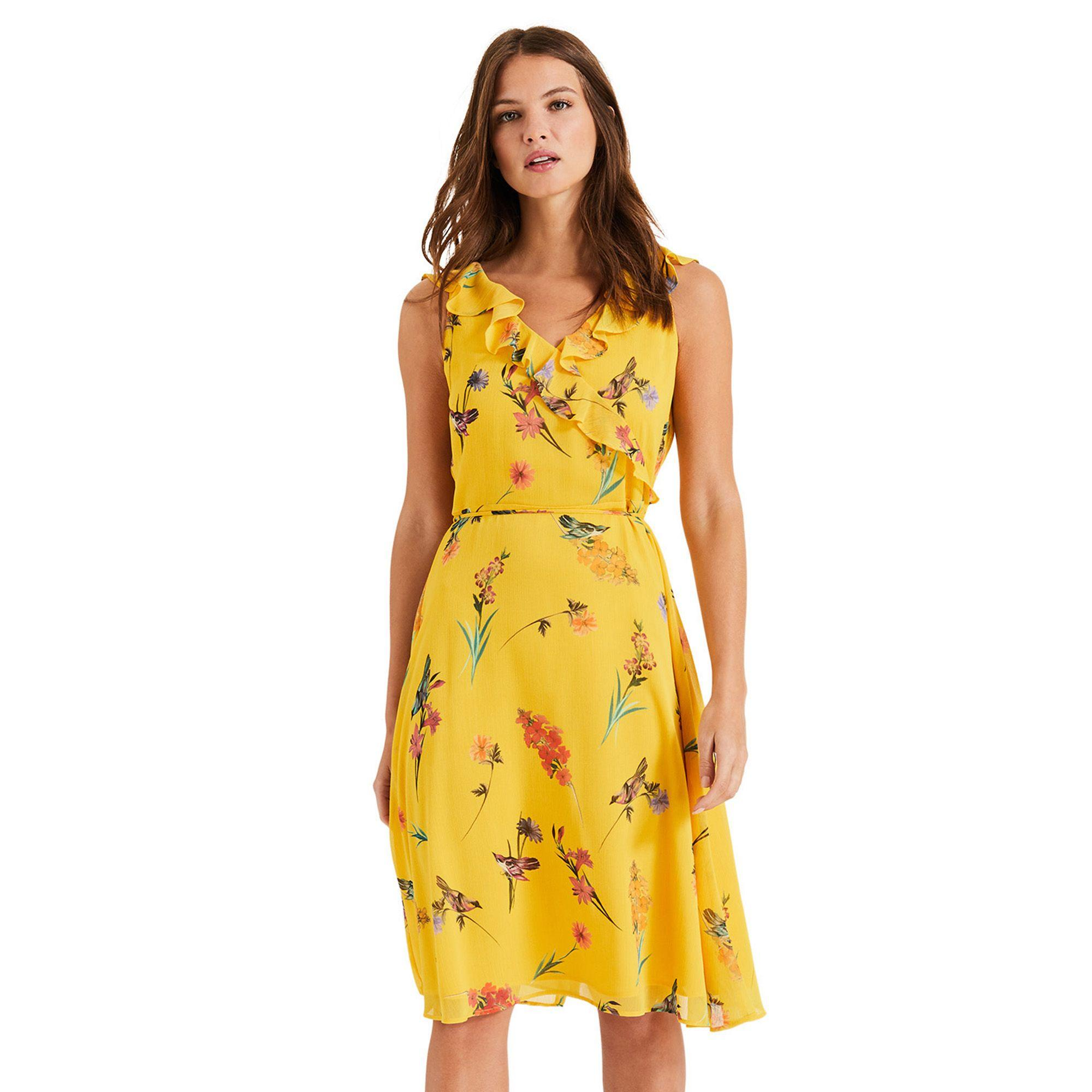 3ff79c678ac Phase Eight Joss Floral Printed Chiffon Dress in Yellow - Lyst