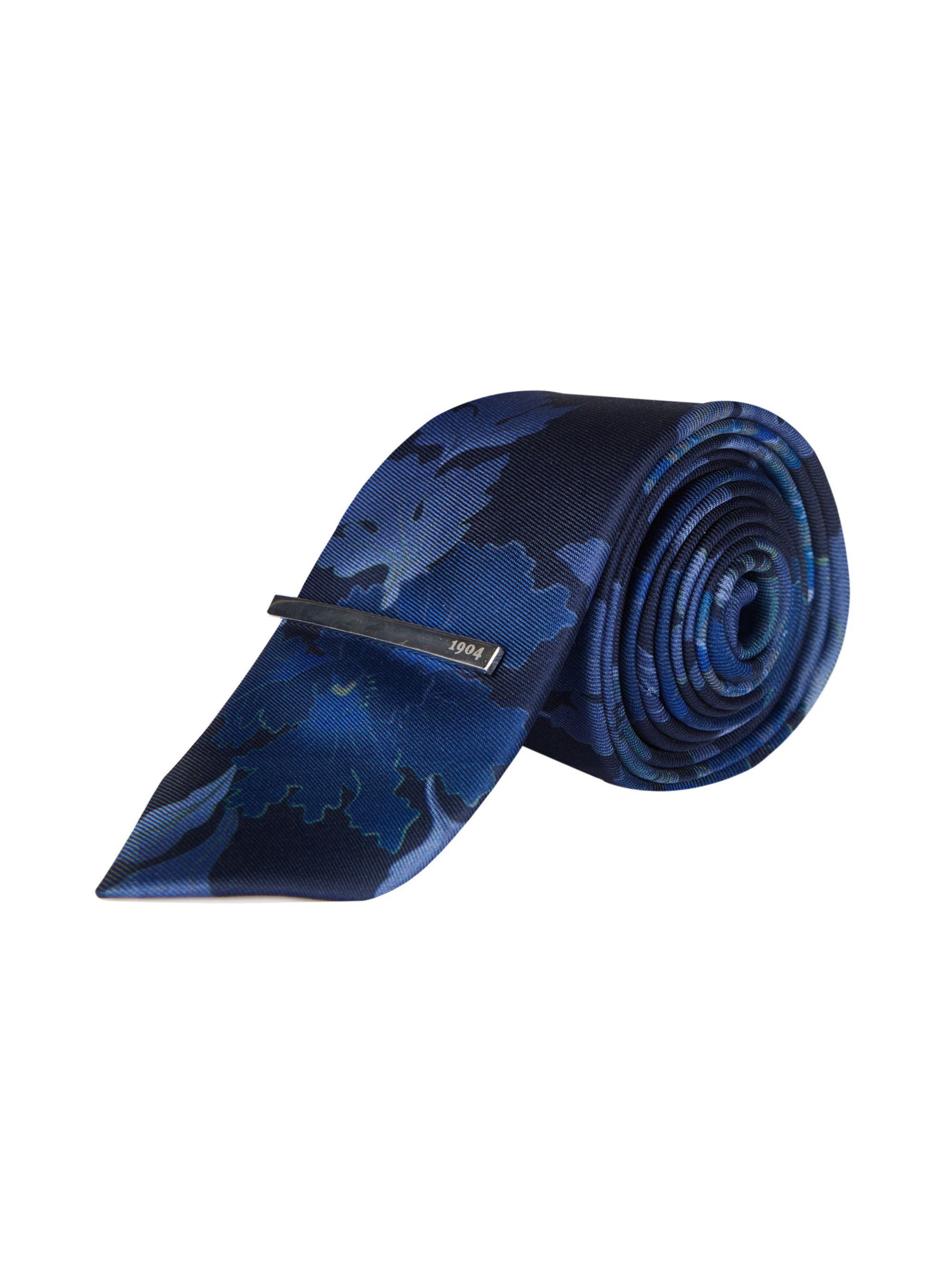 303c95585a91 Burton. Men's Blue 1904 Navy Floral Print Tie, Pocket Square And Clip Set