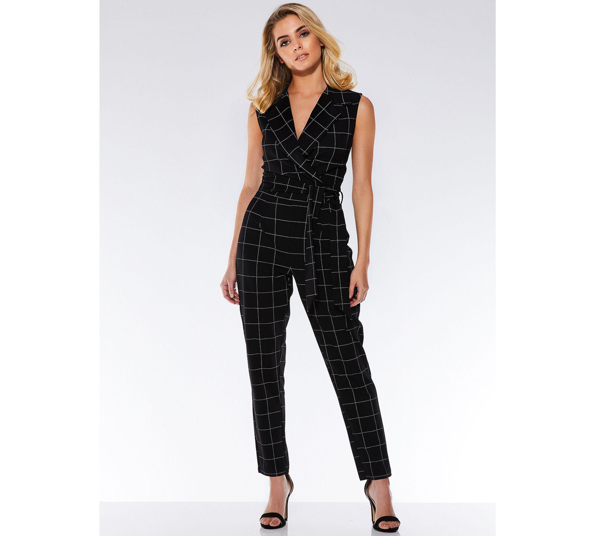 4eb26a8b70ba Quiz Black And White Check Print Lapel Jumpsuit in Black - Lyst