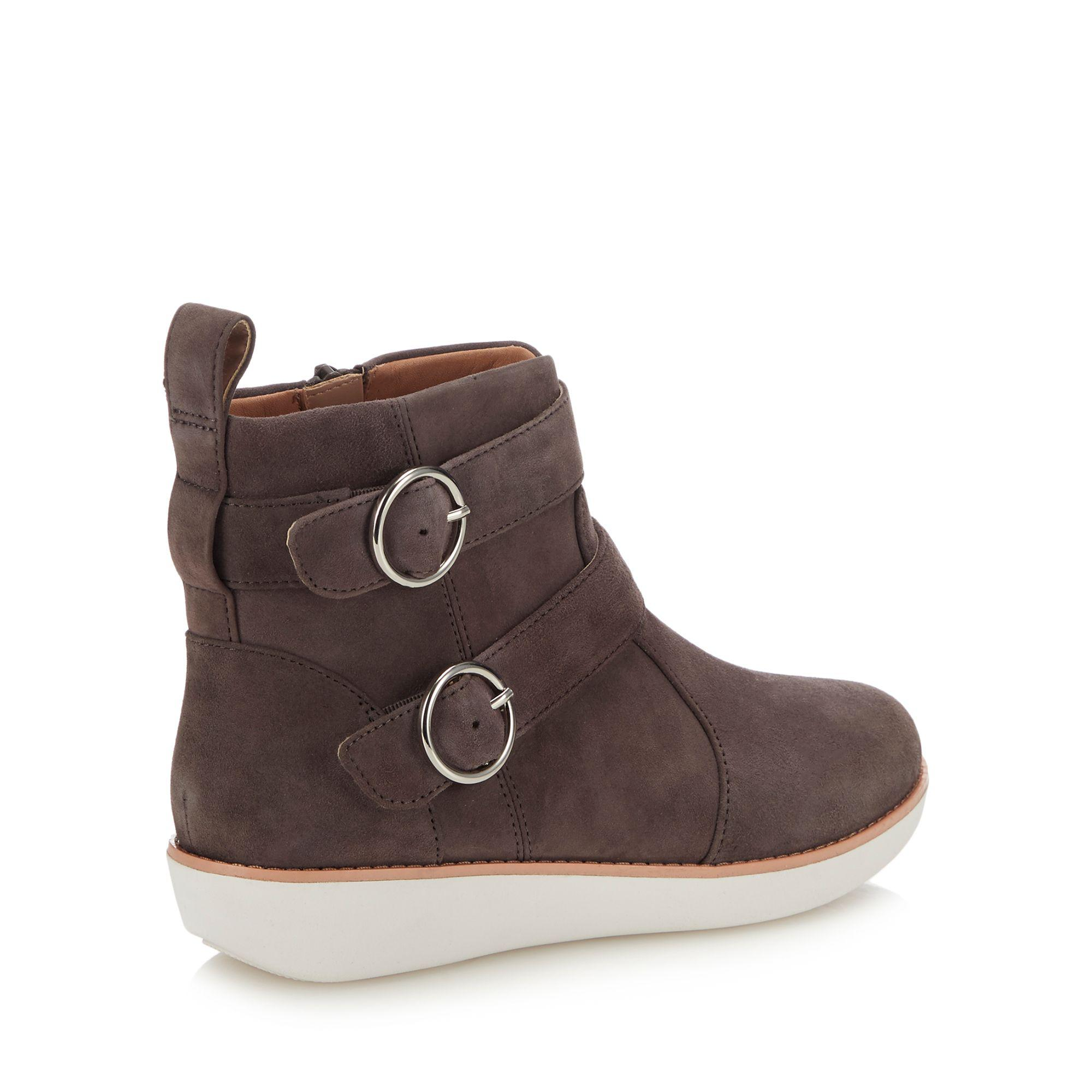 fb0e647ac578 Fitflop - Gray Grey Suede  oona Buckle  Ankle Boots - Lyst. View fullscreen