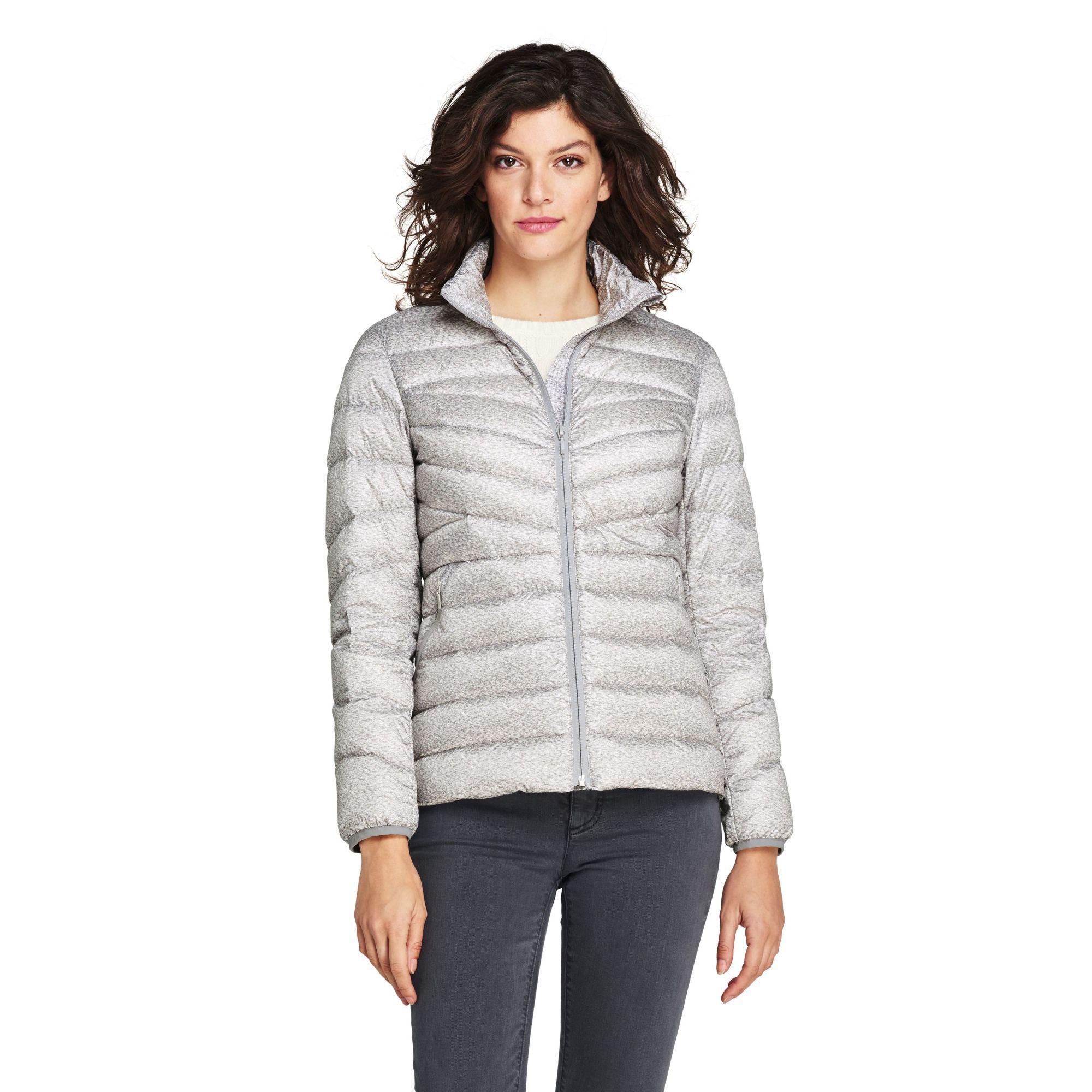 69c0210b62d Lands' End. Women's Gray Grey Patterned Ultra Light Packable Down Jacket