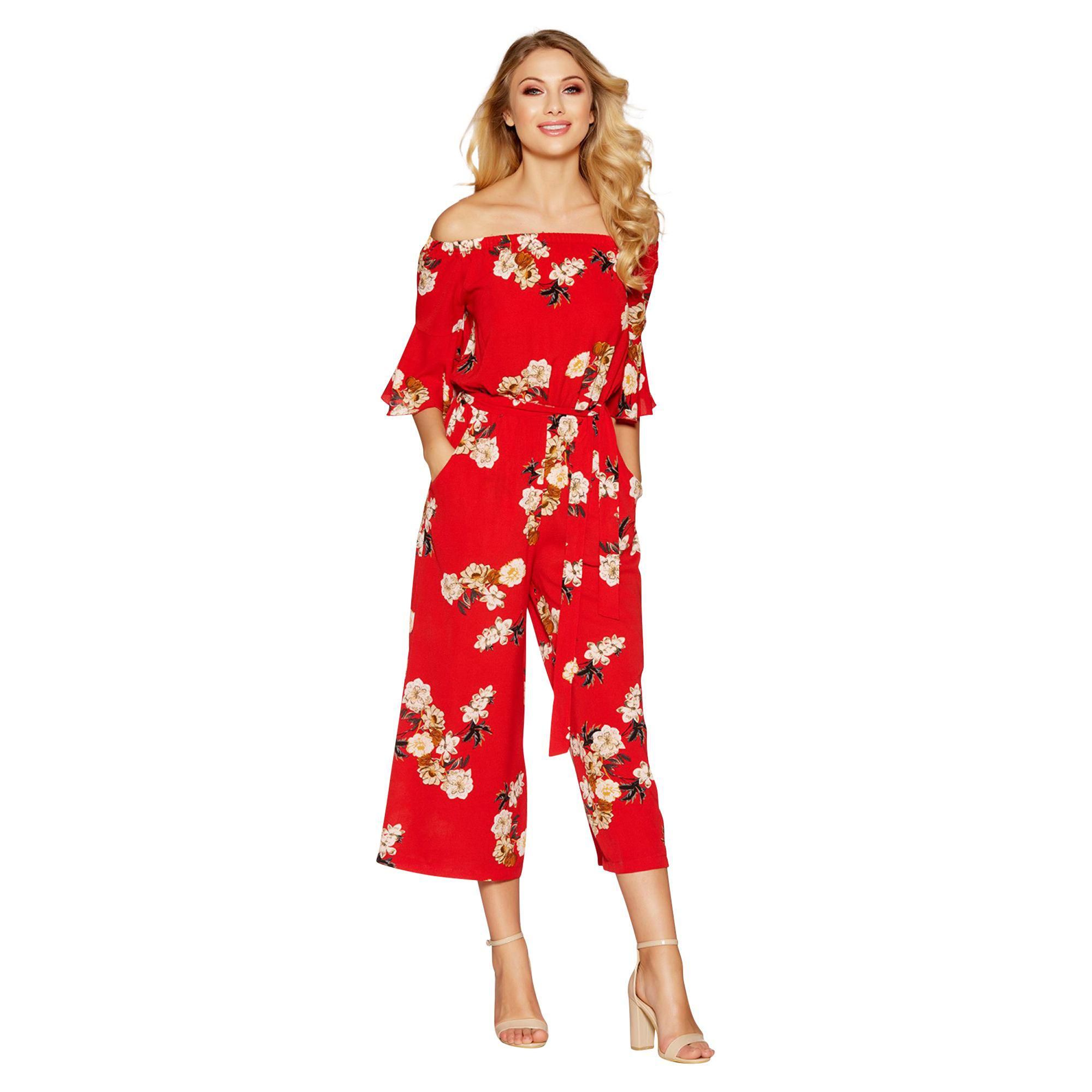 445d6fa4f048 Quiz Red Floral Print Frill Sleeve Culotte Jumpsuit in Red - Save 41 ...