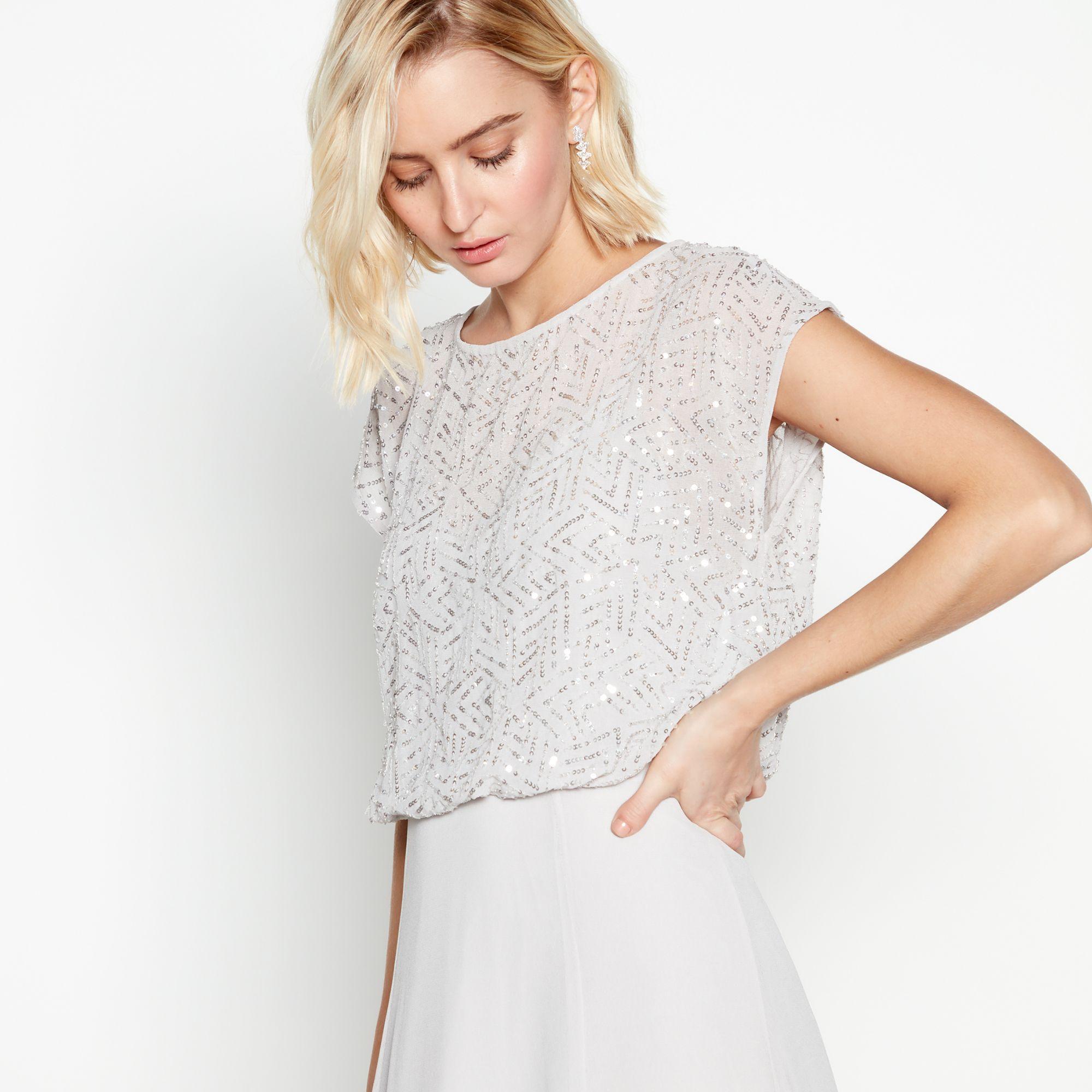 ... Silver Beaded Chiffon Maxi Dress - Lyst. View fullscreen eab0a7418