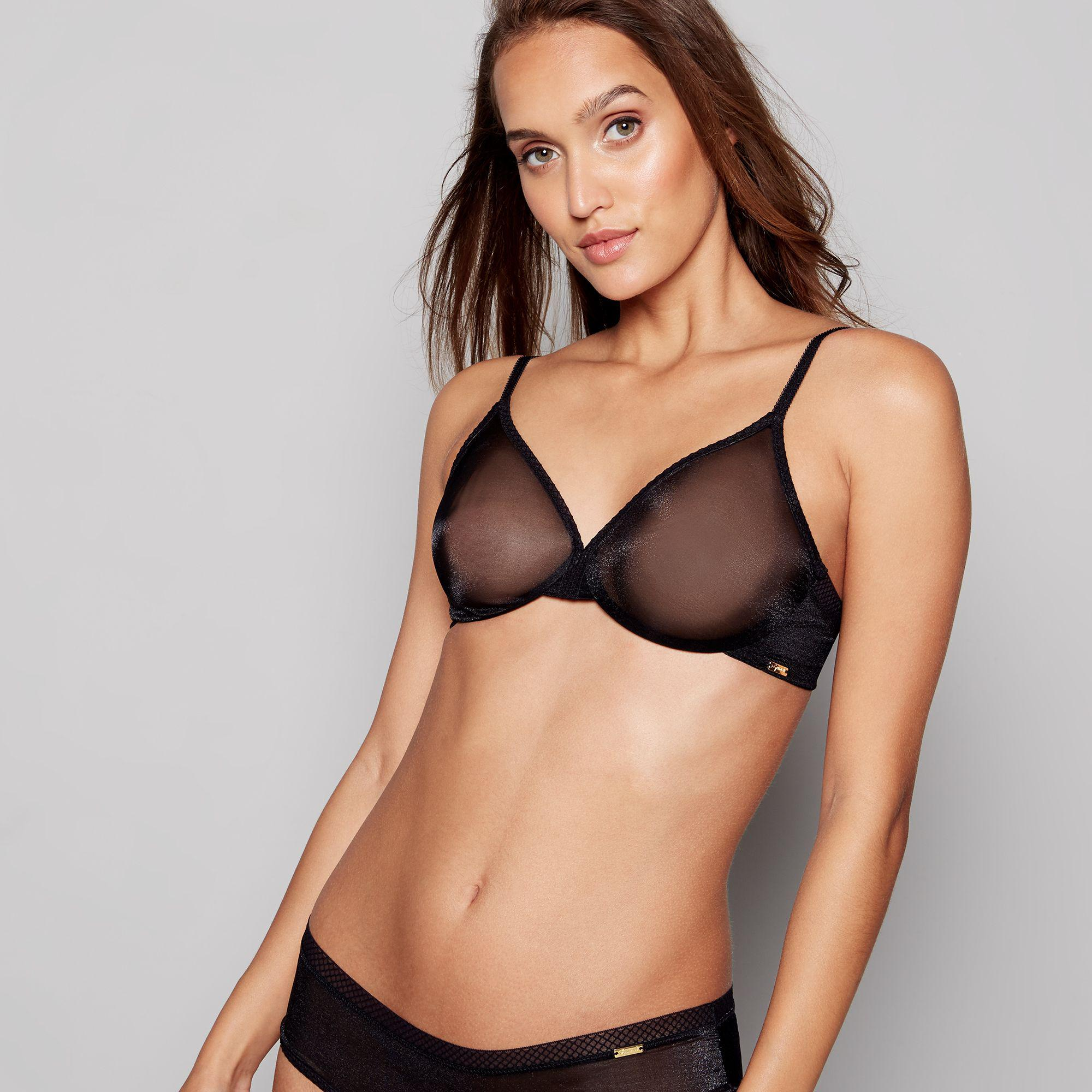 deb75f40a5 Gossard - Black Mesh  glossies  Underwired Non-padded Plunge T-shirt Bra.  View fullscreen