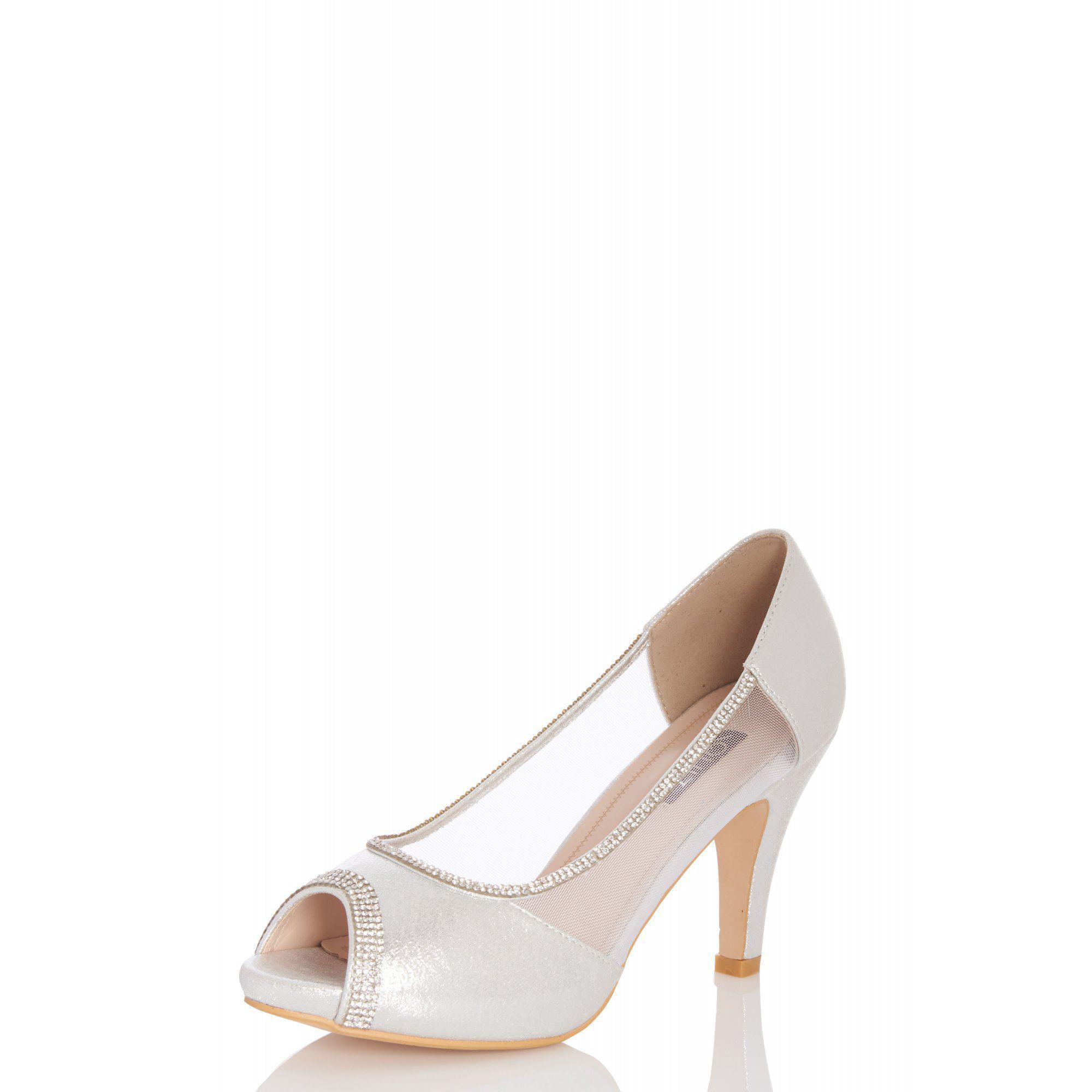 0cd96d85ab9 Quiz - Metallic Silver Shimmer Peep Toe Low Heel Shoes - Lyst. View  fullscreen