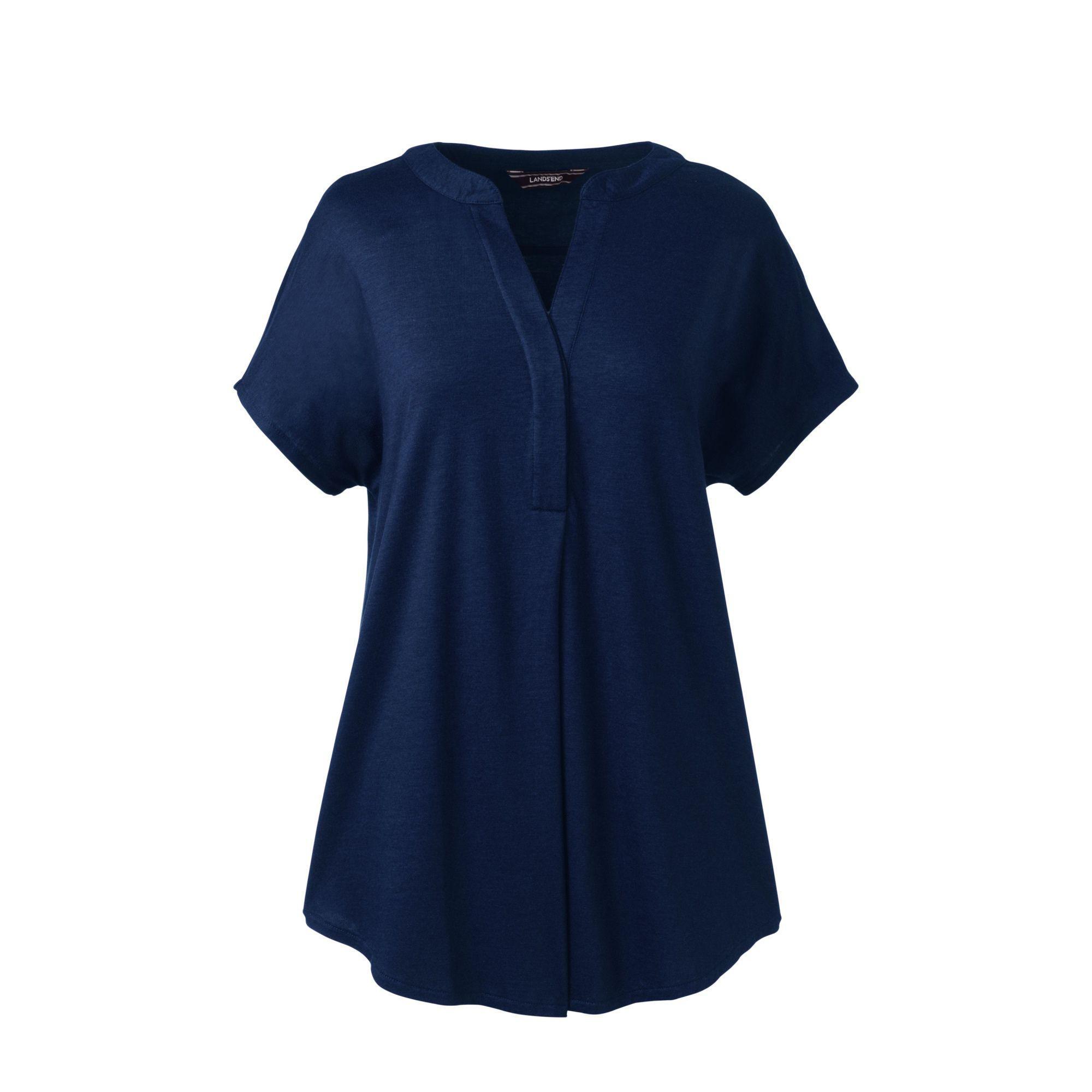 Womens Petite Woven Front Art T-shirt - 10 -12 - BLUE Lands End Outlet Online colb9BIZb