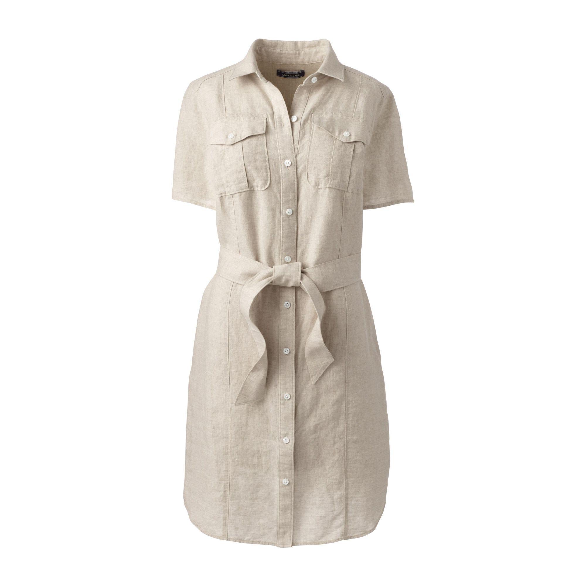 3f6a80c6125 Lands  End Beige Womens Utility Linen Shirt Dress in Natural - Lyst