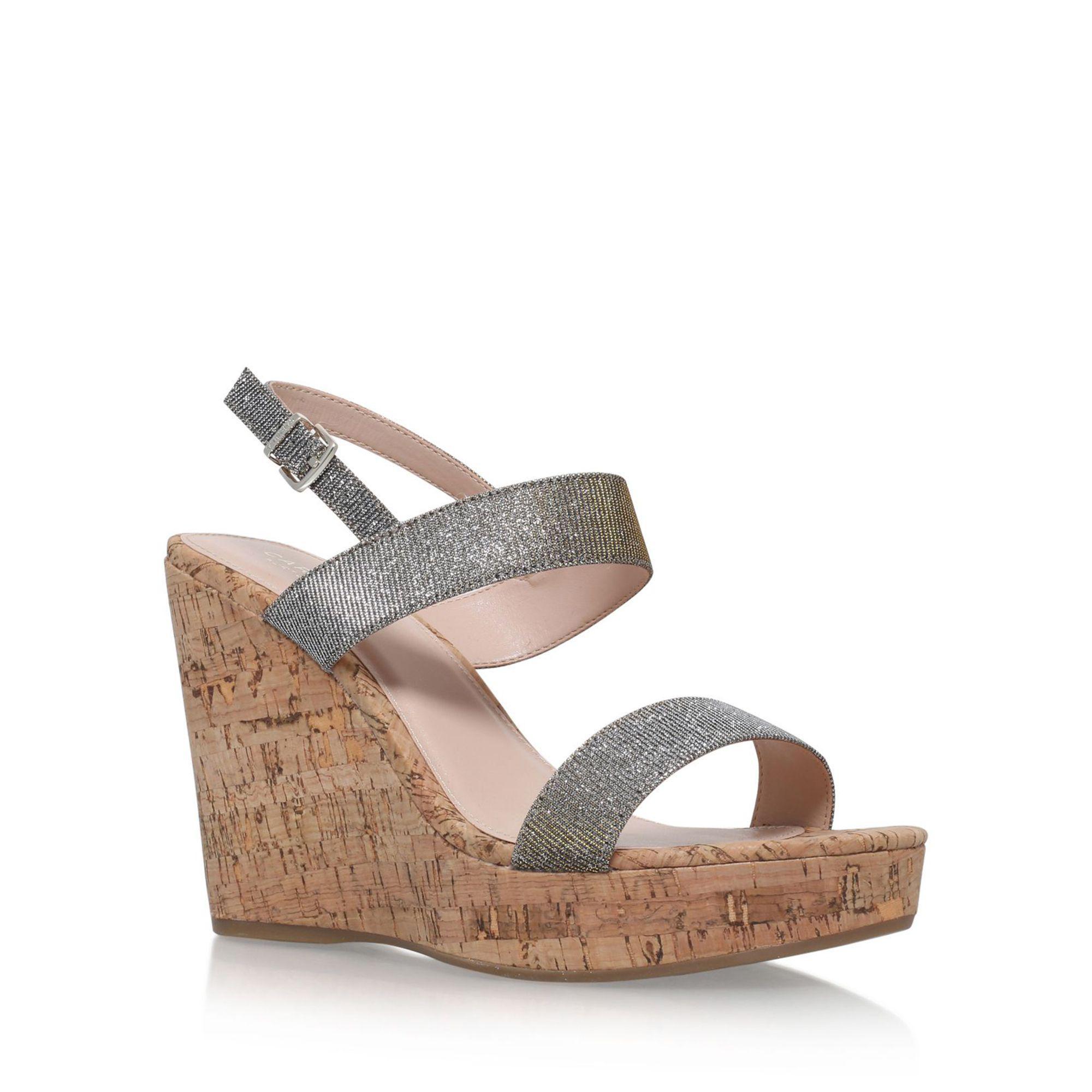 60b4a7ecf3 Carvela Kurt Geiger Metal 'kay' High Heel Wedge Sandals in Metallic ...
