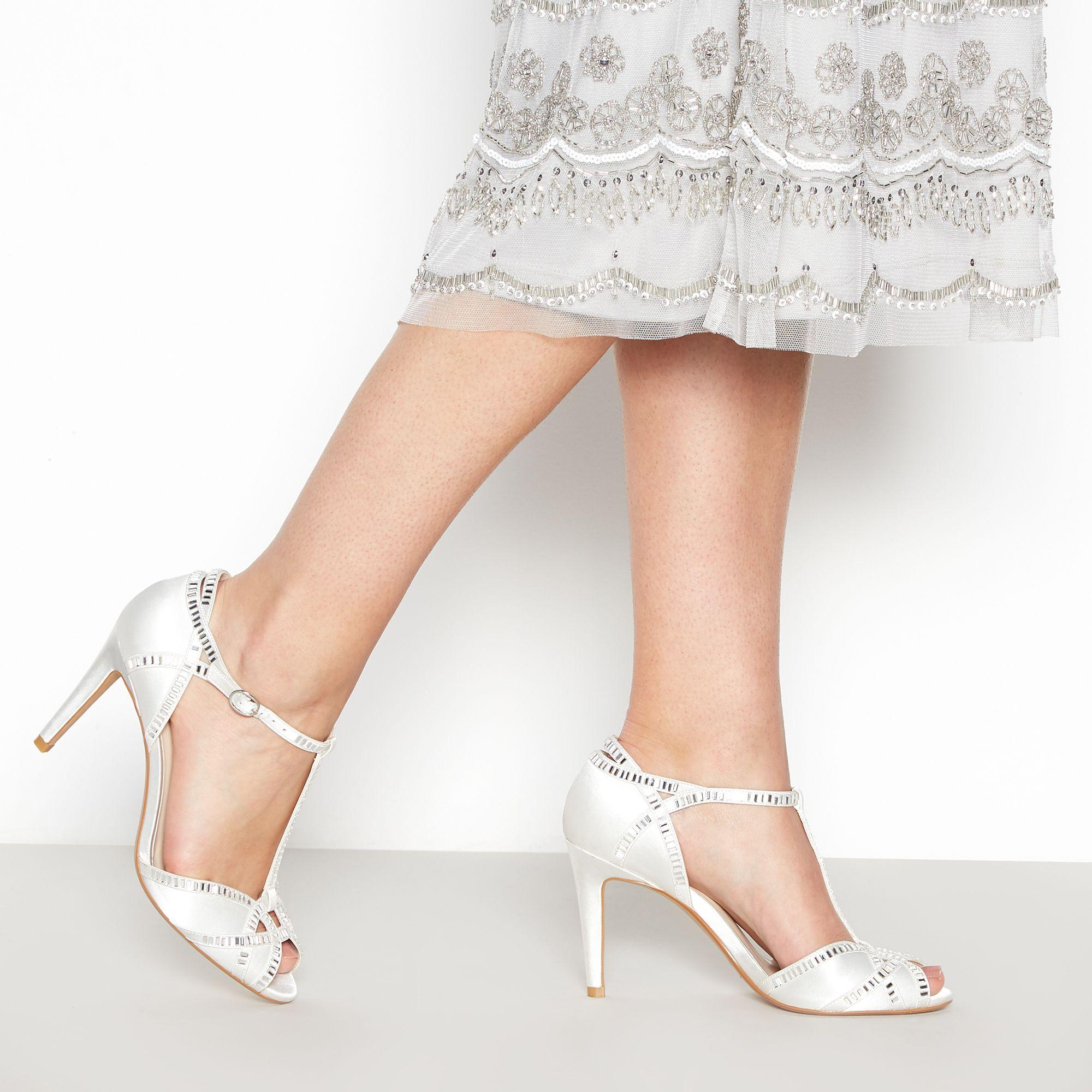 47060485c1e Jenny Packham. Women s White Ivory  pasha  High Stiletto Heel Ankle Strap  Sandals